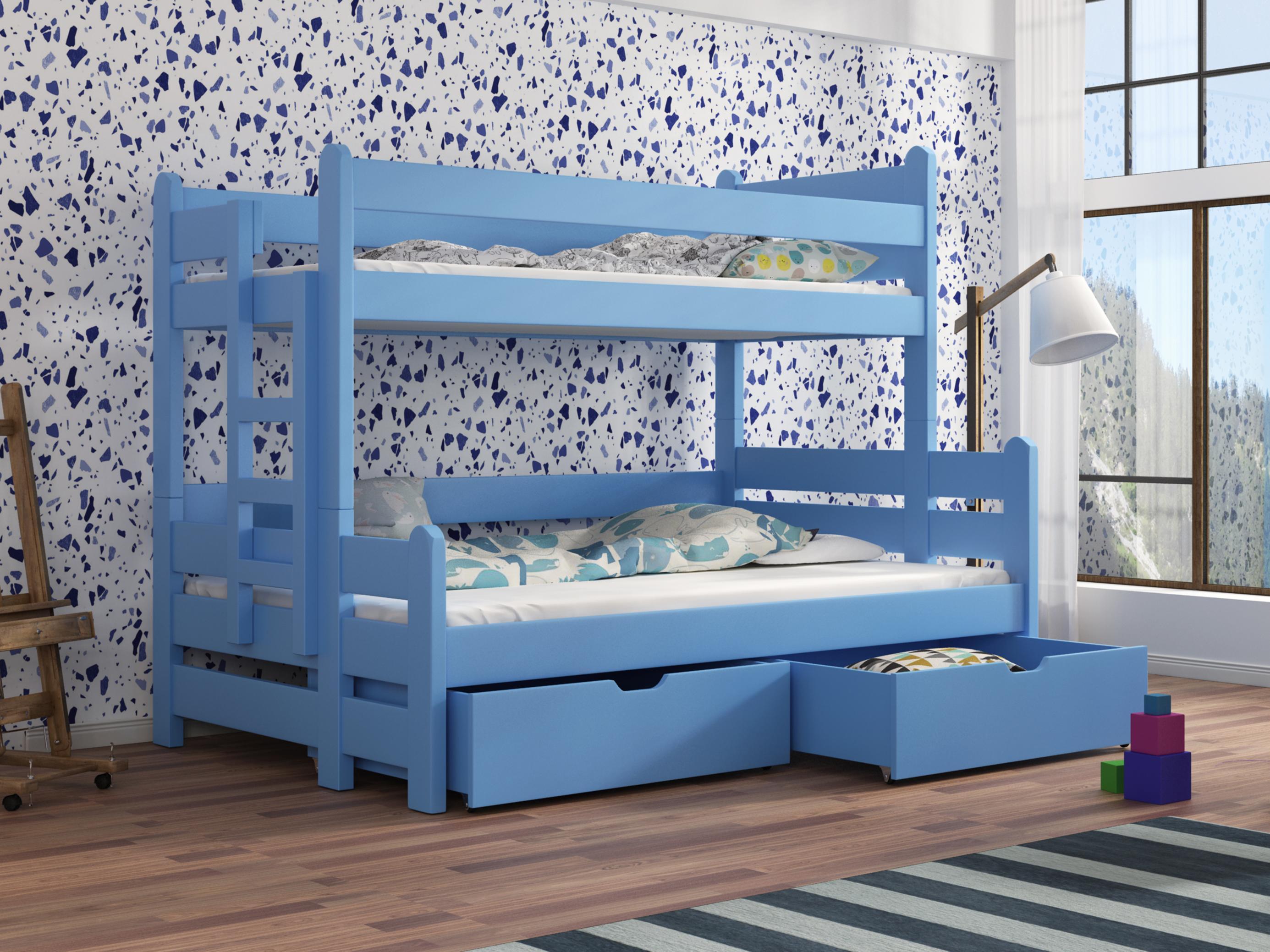Dětská patrová postel 90 cm - Bivi (modrá)