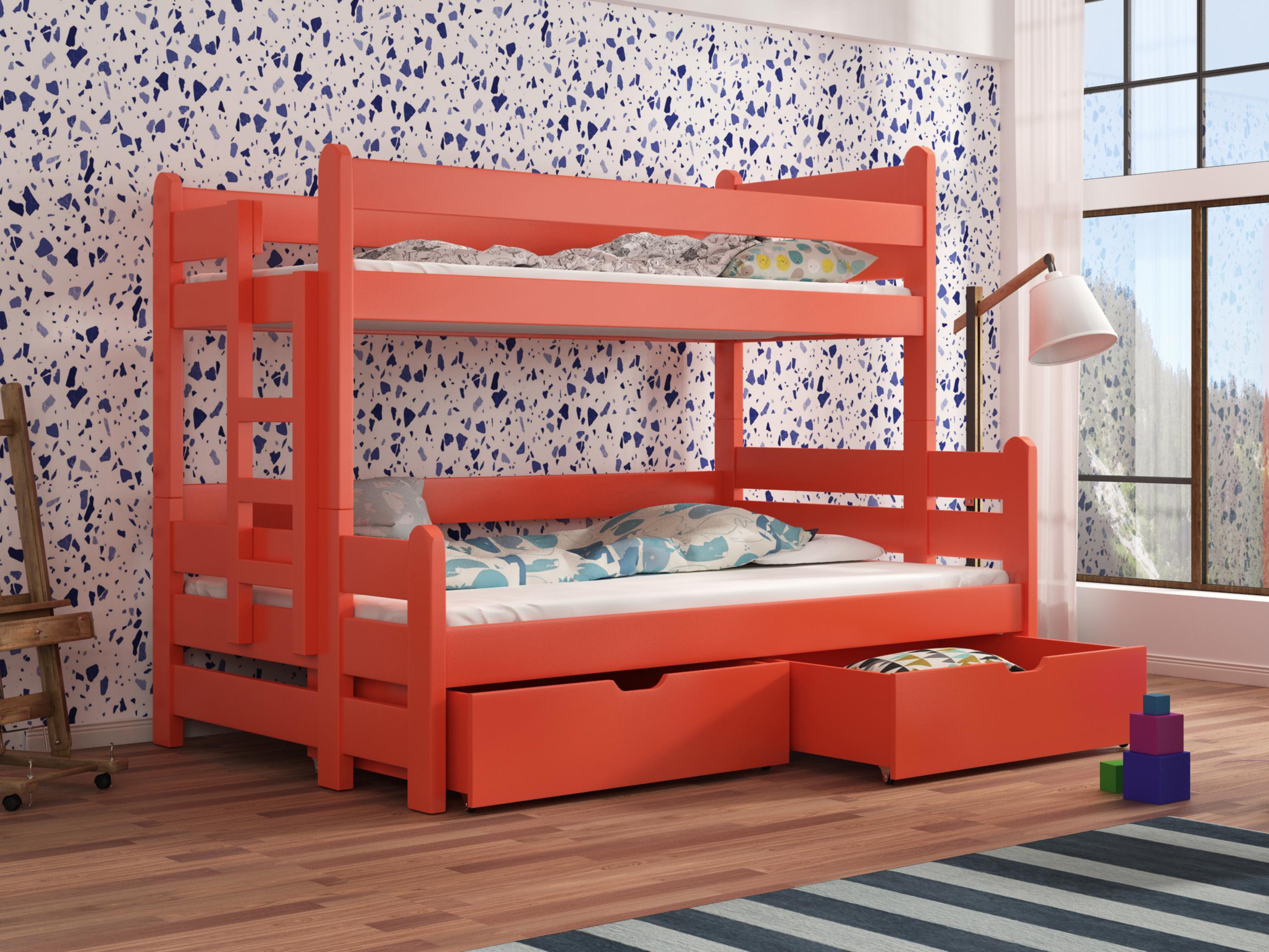 Dětská patrová postel 90 cm - Bivi (pomeranč)
