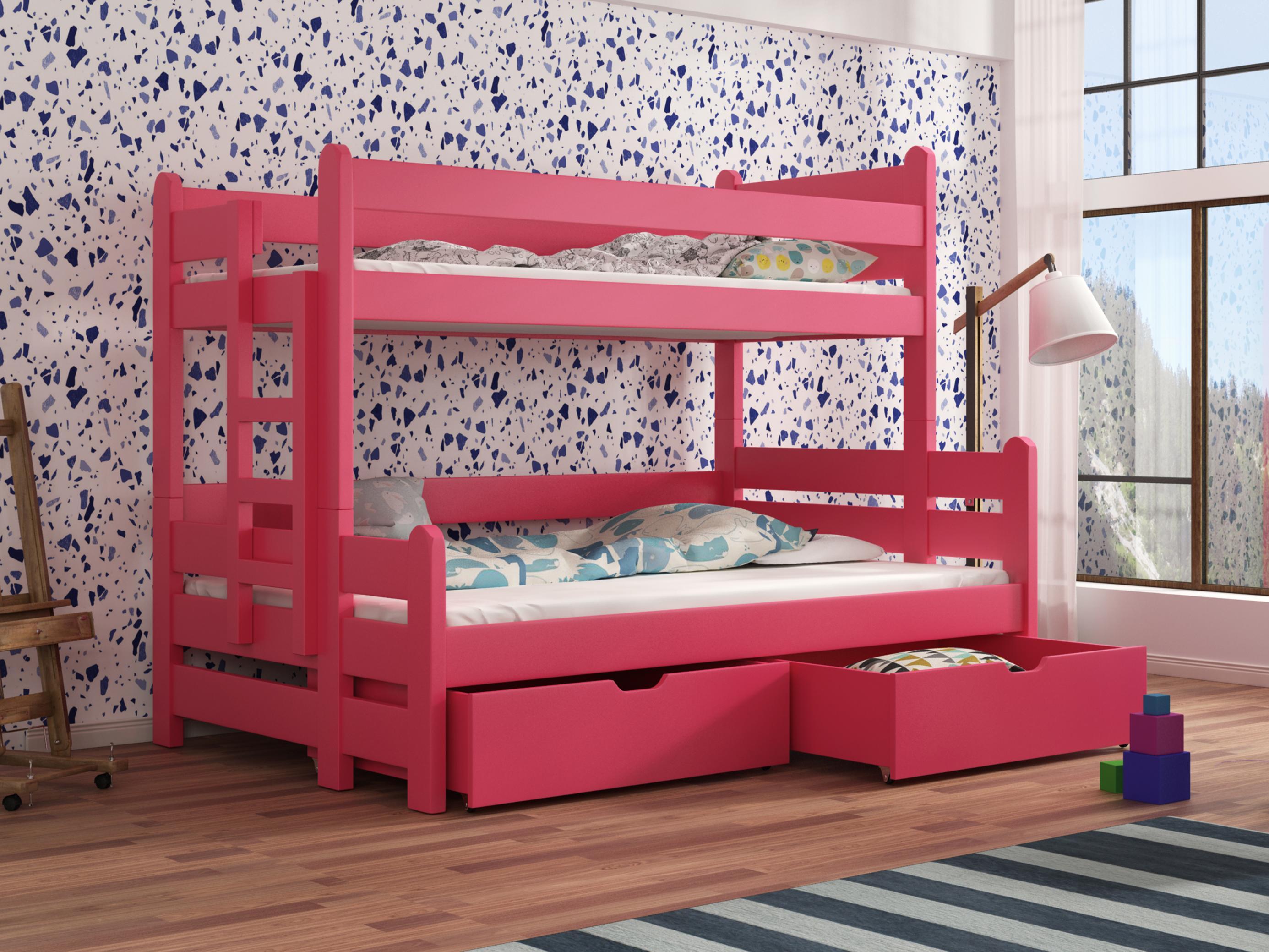 Dětská patrová postel 90 cm - Bivi (růžová)