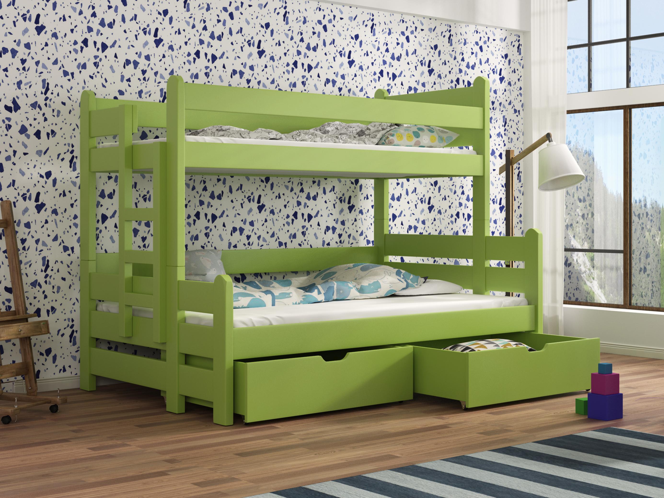 Dětská patrová postel 90 cm - Bivi (zelená)