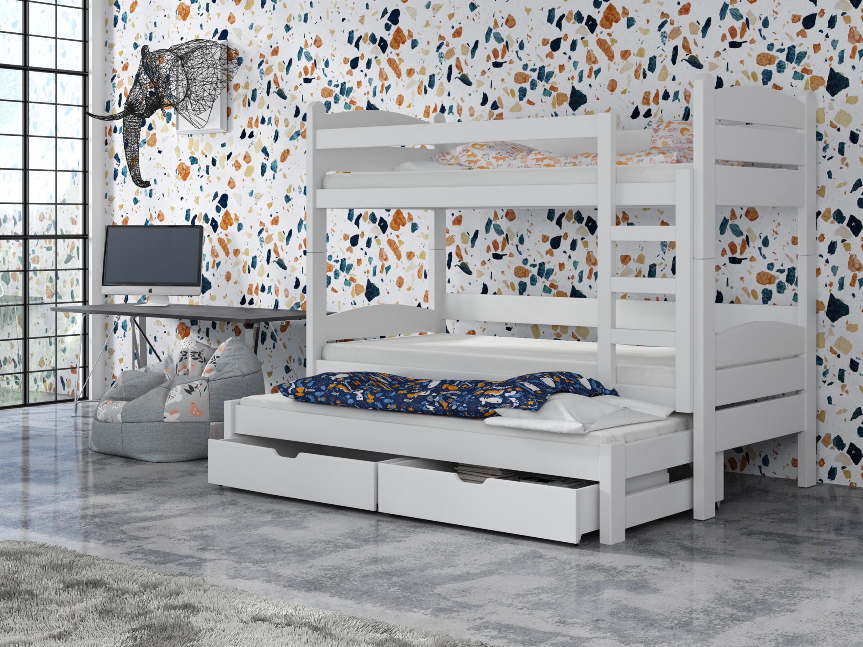 Dětská patrová postel 90 cm - Celsa (bílá)