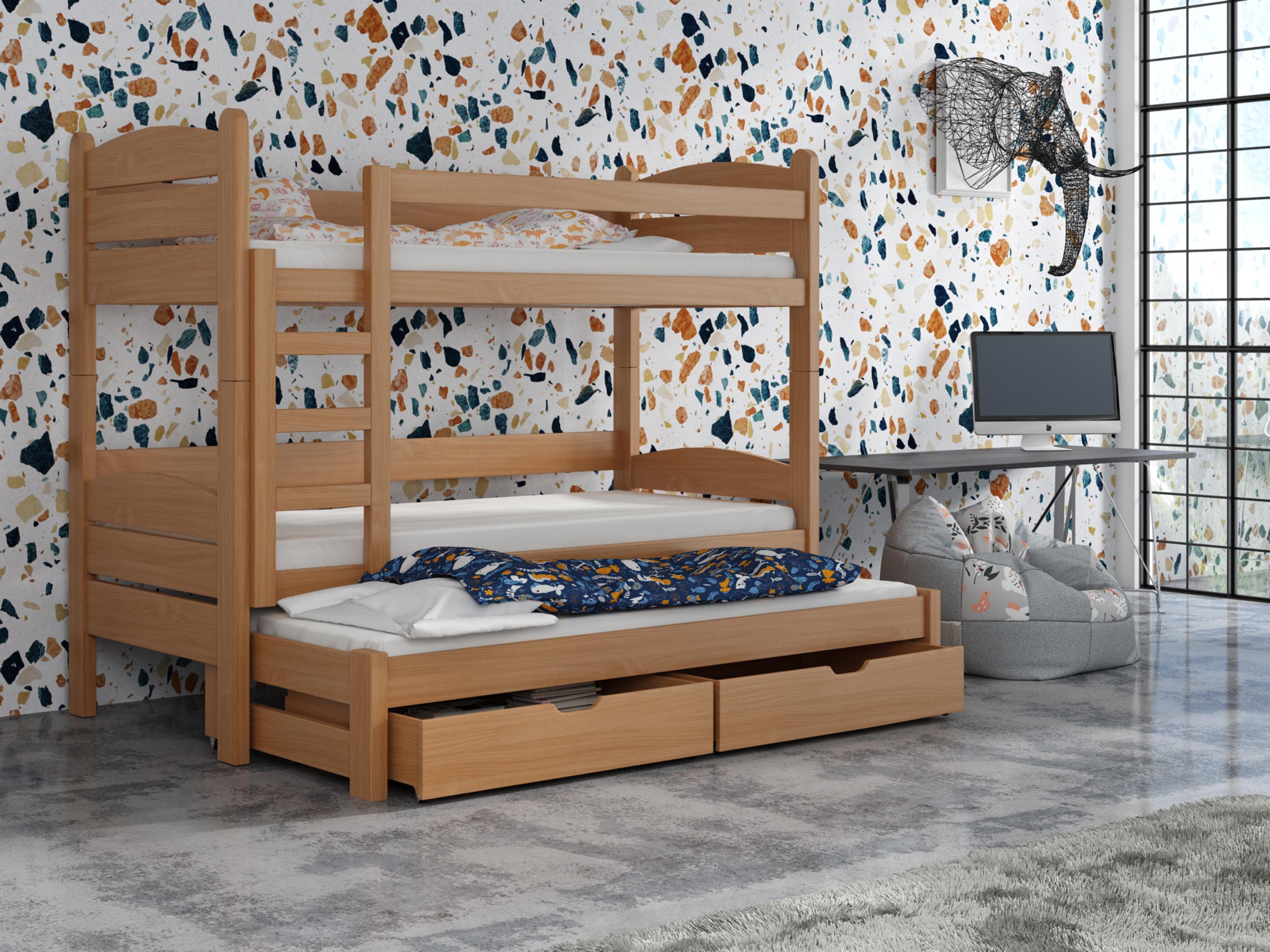 Dětská patrová postel 90 cm - Celsa (buk)