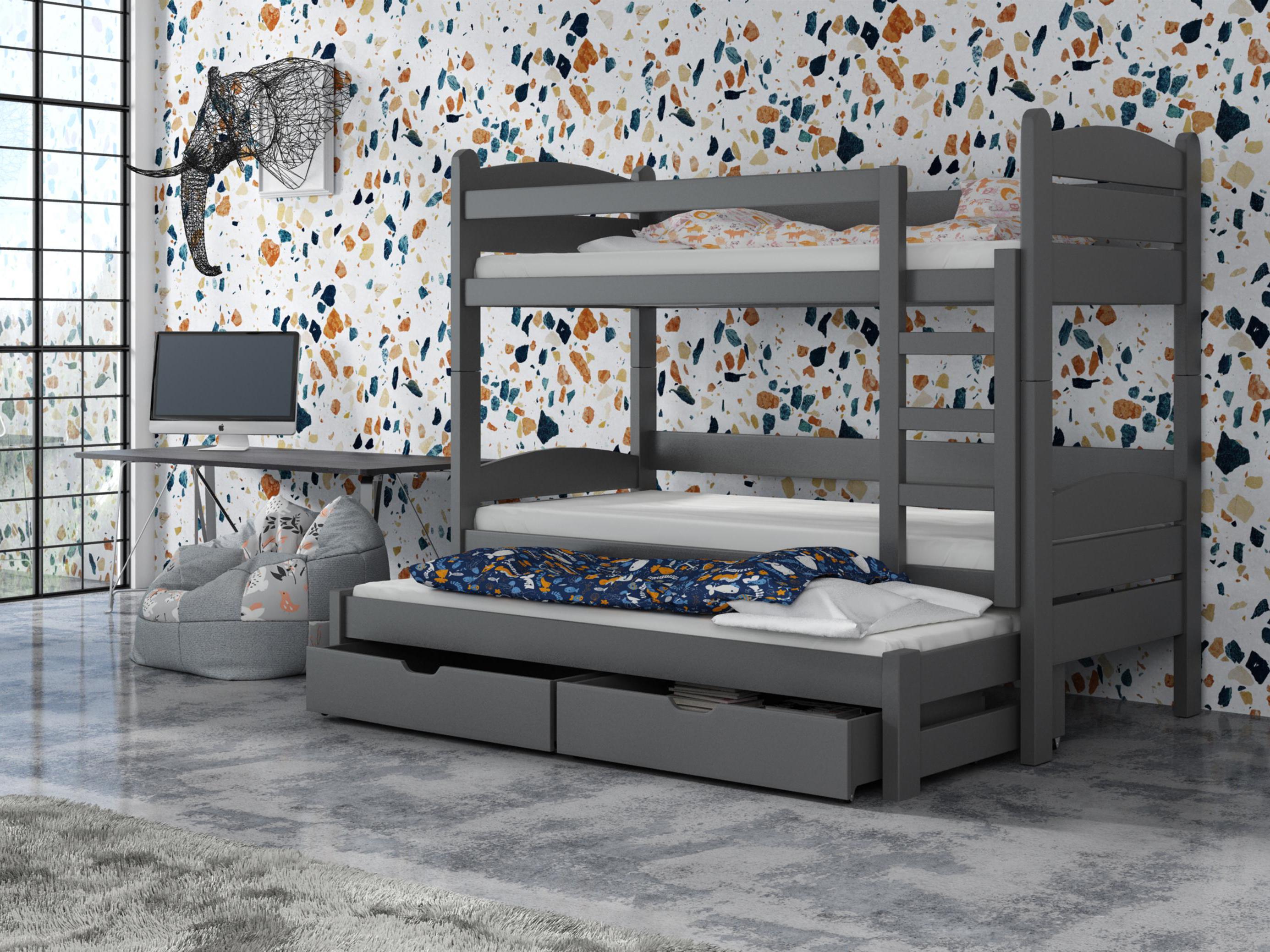Dětská patrová postel 90 cm - Celsa (grafit)