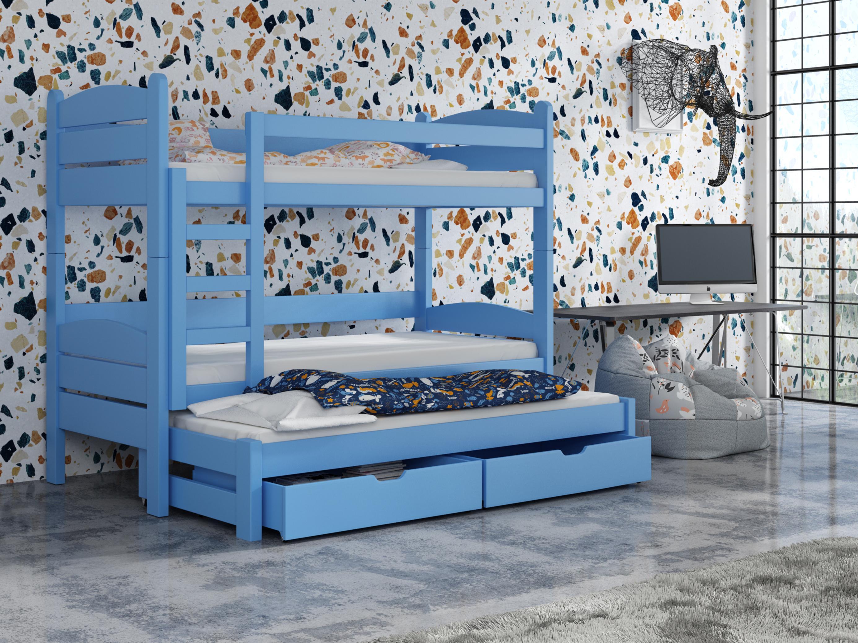 Dětská patrová postel 90 cm - Celsa (modrá)