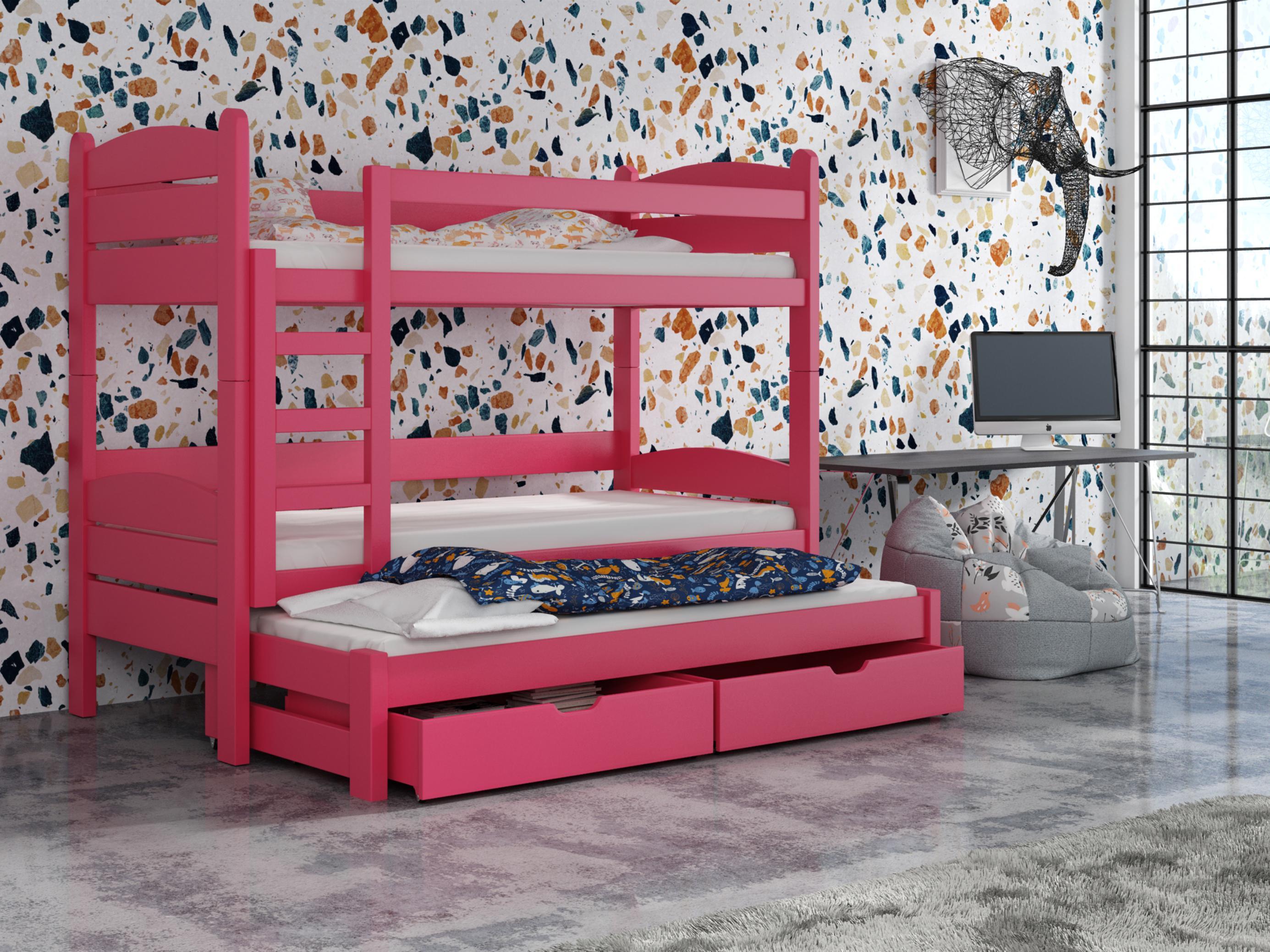 Dětská patrová postel 90 cm - Celsa (růžová)