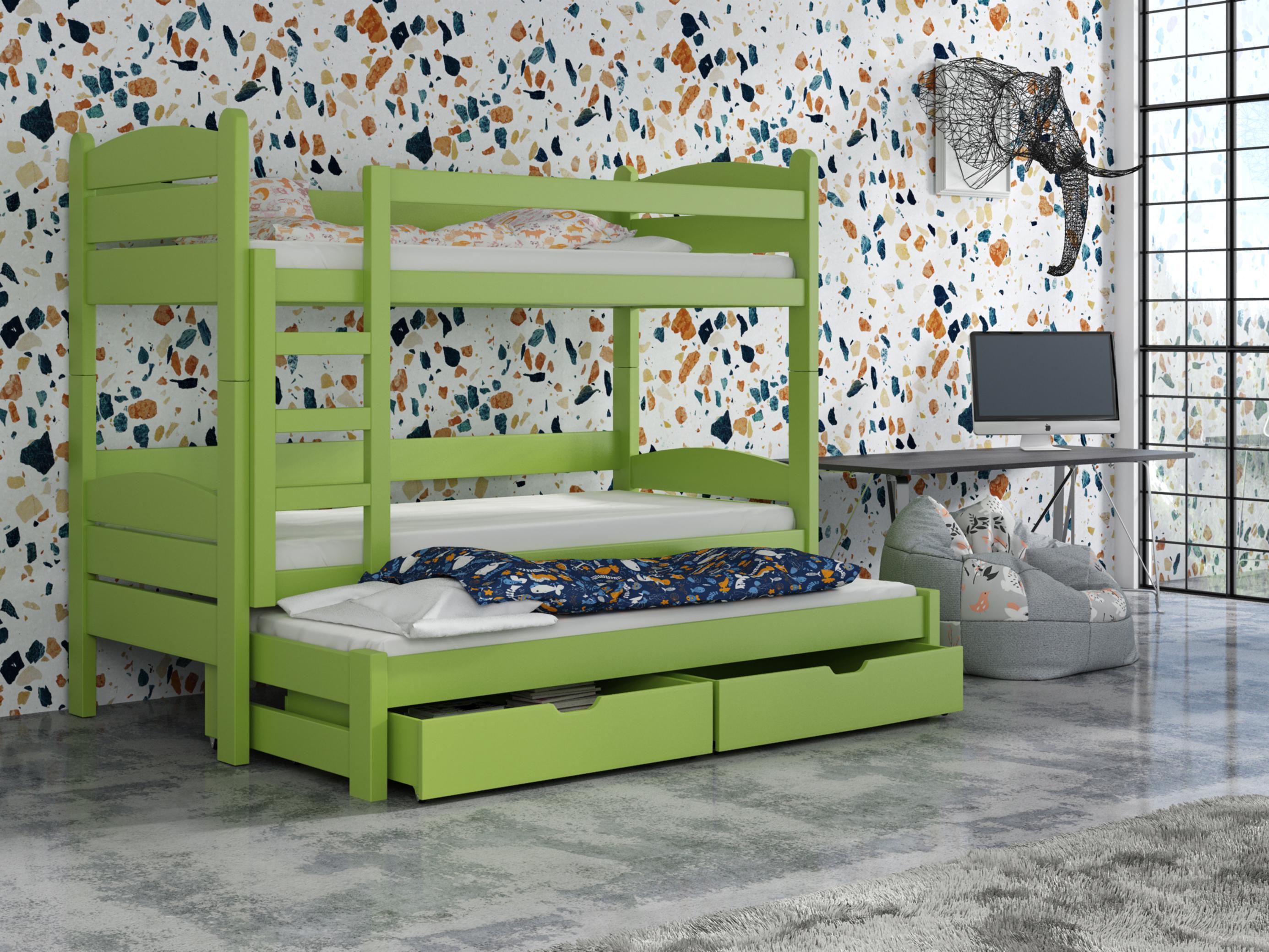 Dětská patrová postel 90 cm - Celsa (zelená)