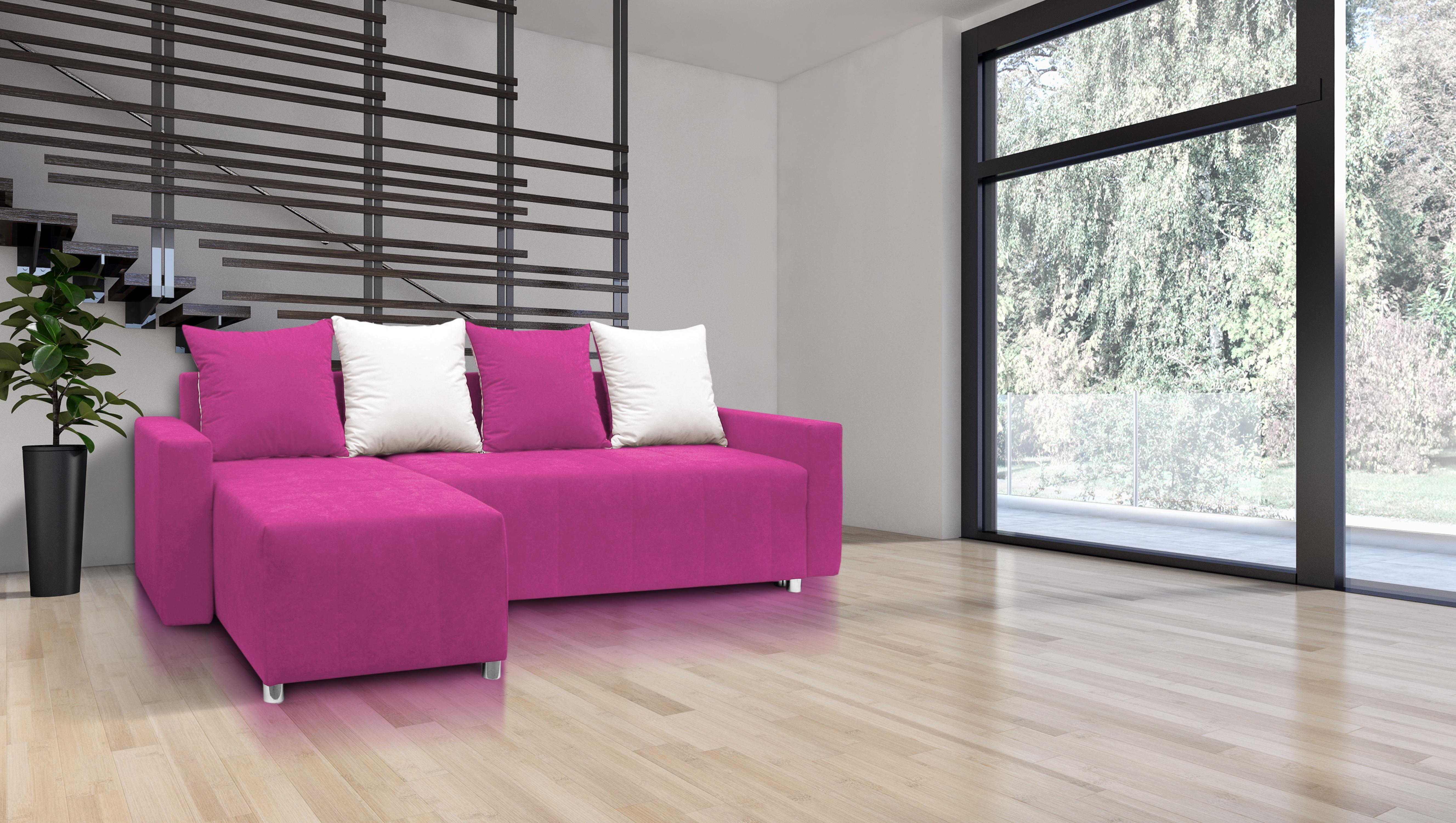 Rohová sedací souprava - Briston s opěrkami (růžová + polštáře)