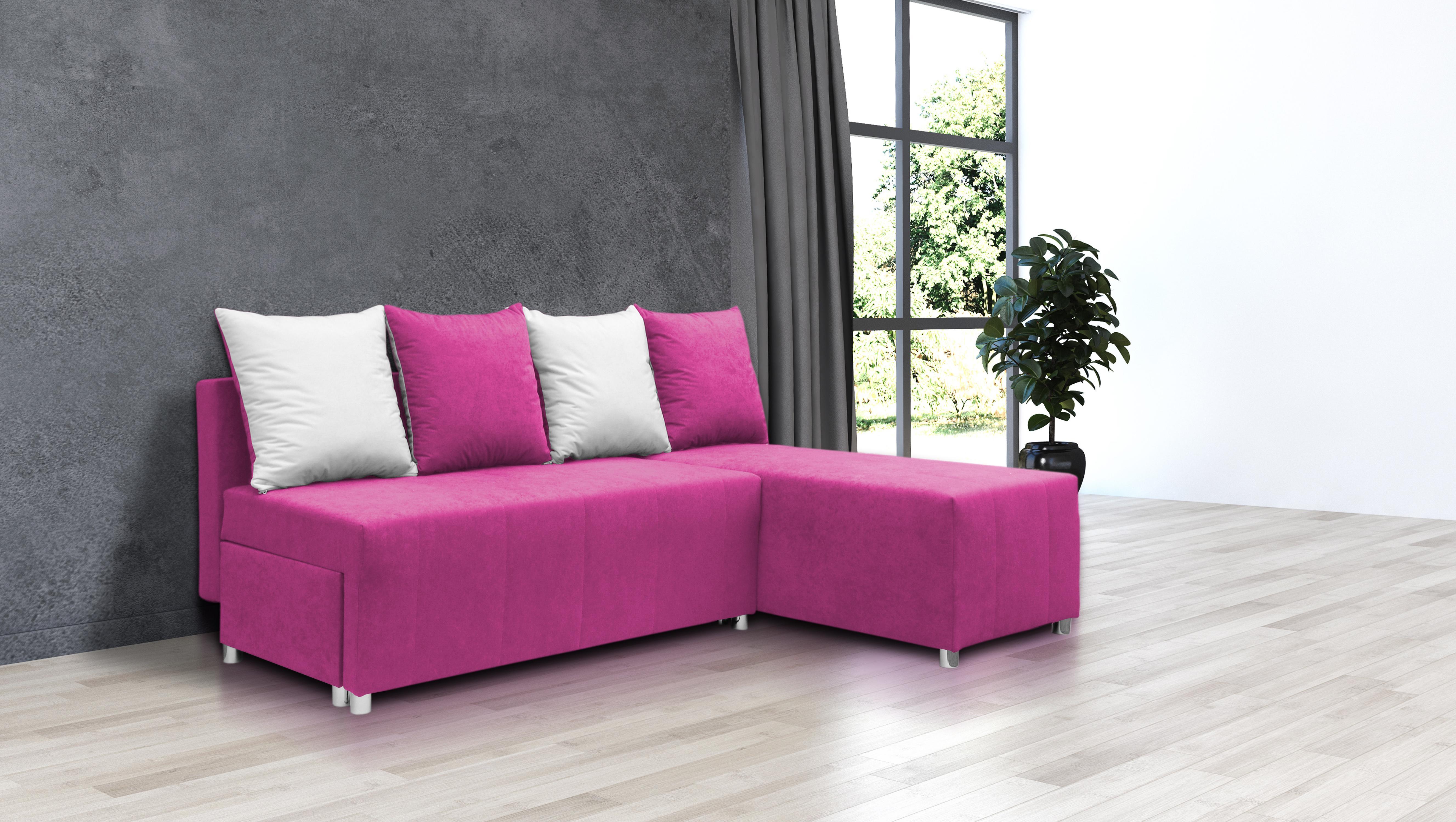 Rohová sedací souprava - Briston (růžová + polštáře)