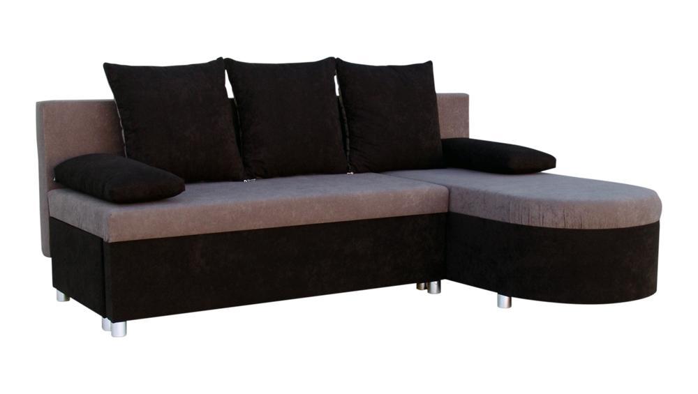 Rohová sedací souprava - Darley - černá - šedá - (1 úložný prostor, pěna) + polštáře