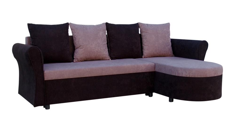 Rohová sedací souprava - Darley s opěrkami - černá - šedá - (1 úložný prostor, pěna) + polštáře