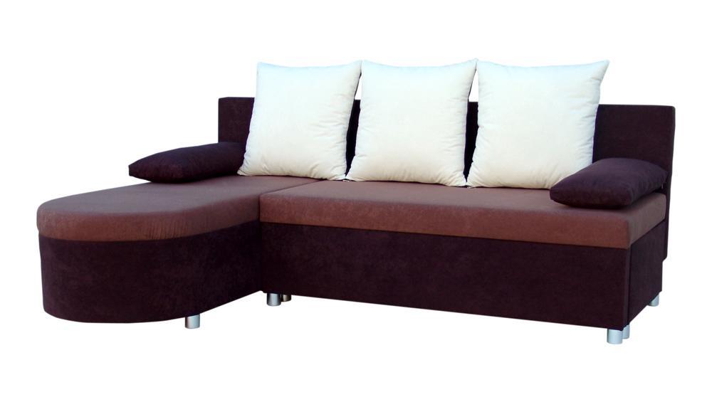 Rohová sedací souprava - Darley - tmavohnědá - hnědá - (1 úložný prostor, pěna) + polštáře