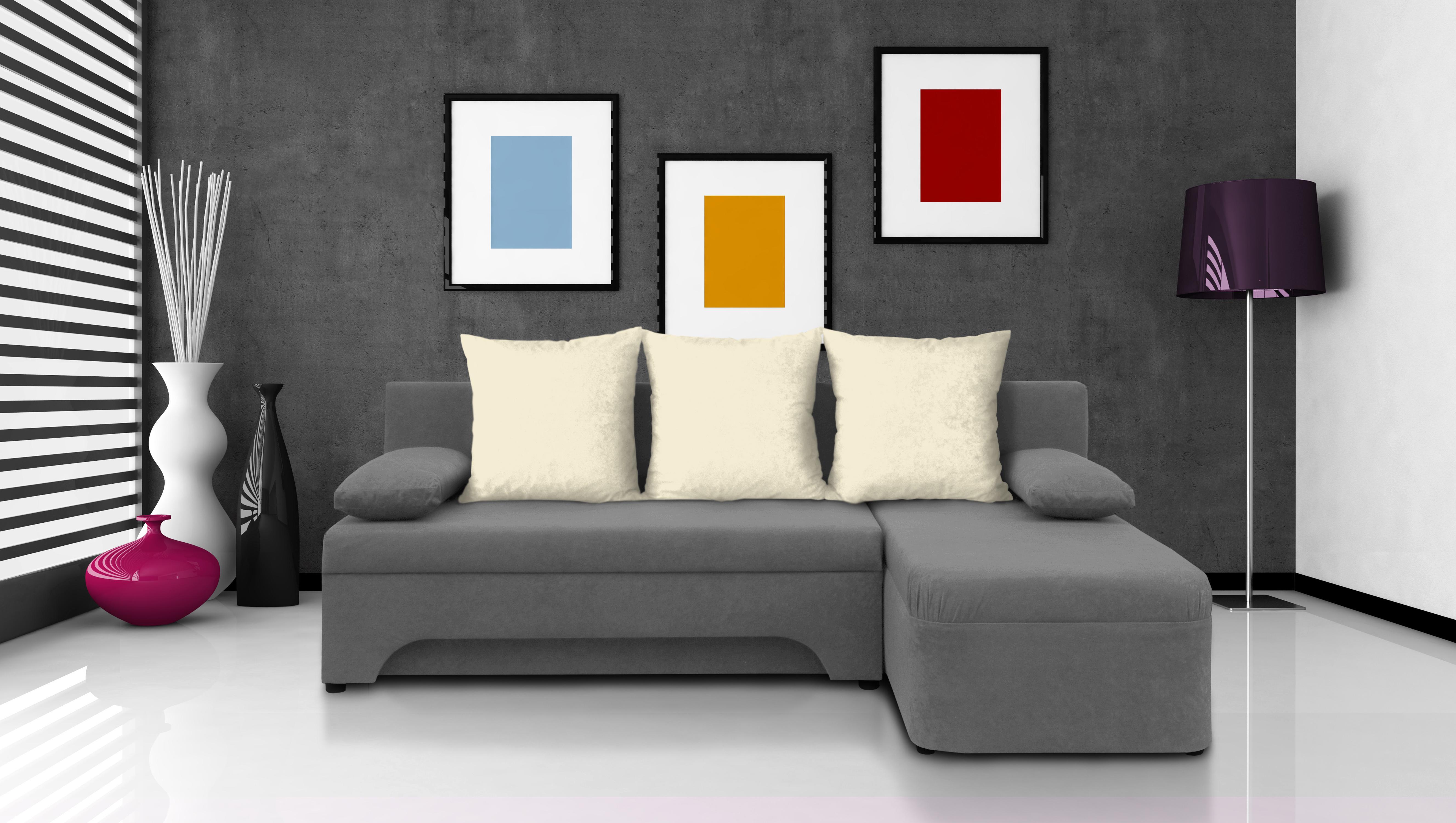 Rohová sedačka - Saline - šedá + krémové polštáře - (2 úložné prostory, pěna)