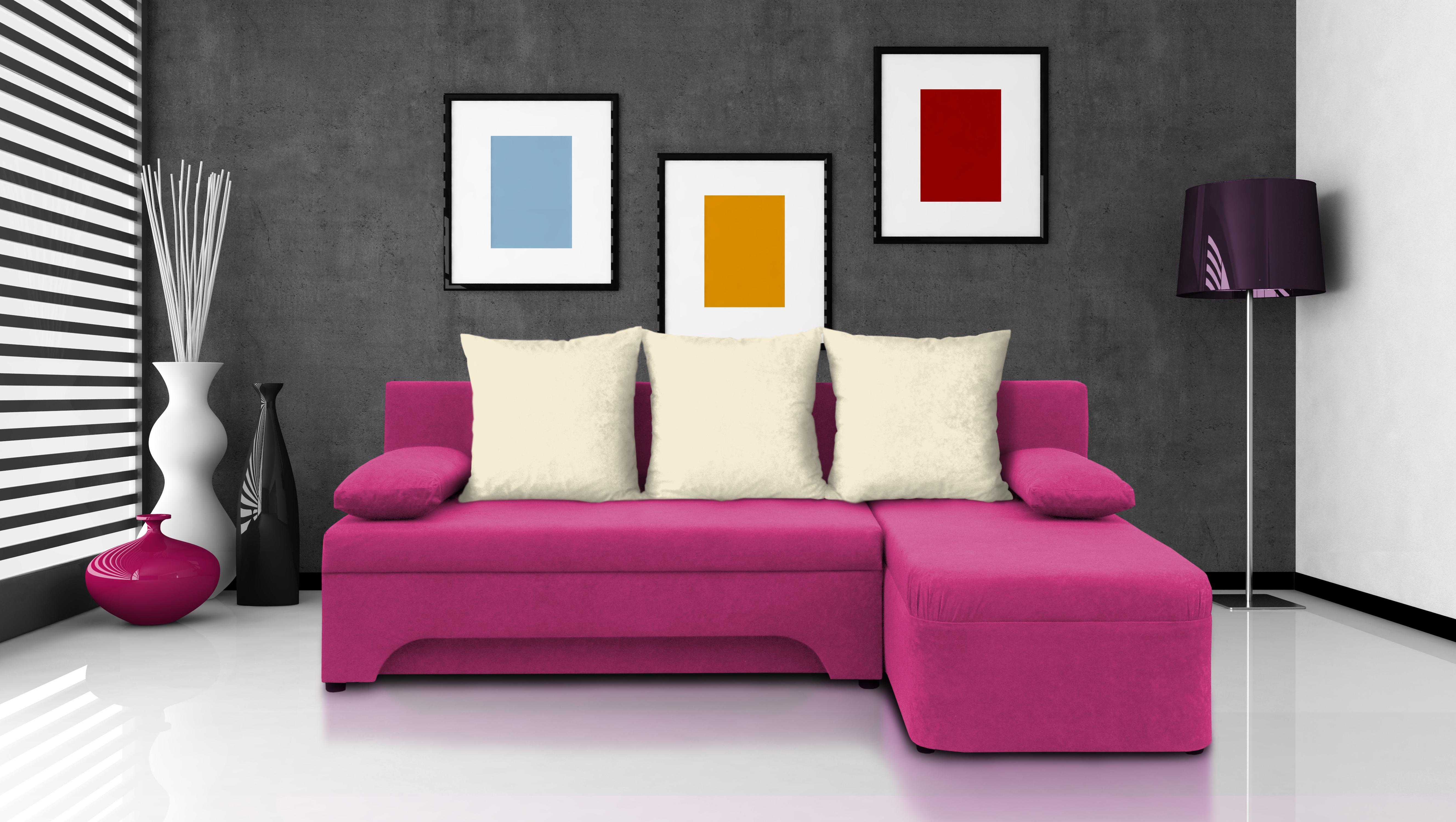 Rohová sedací souprava - Saline - růžová + krémové polštáře - (1 úložný prostor, pěna)