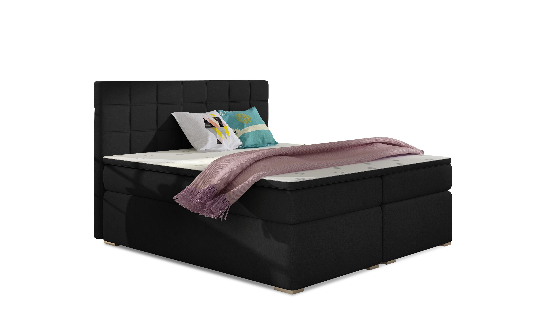 Manželská postel Boxspring 140 cm - Abbie (černá) (s matracemi)