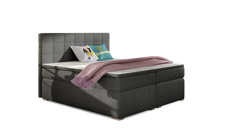 Manželská postel Boxspring 140 cm - Abbie (tmavě šedá) (s matracemi)