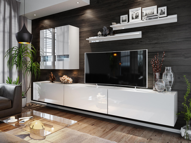 Obývací stěna - Benmore (bílá + bílý lesk)