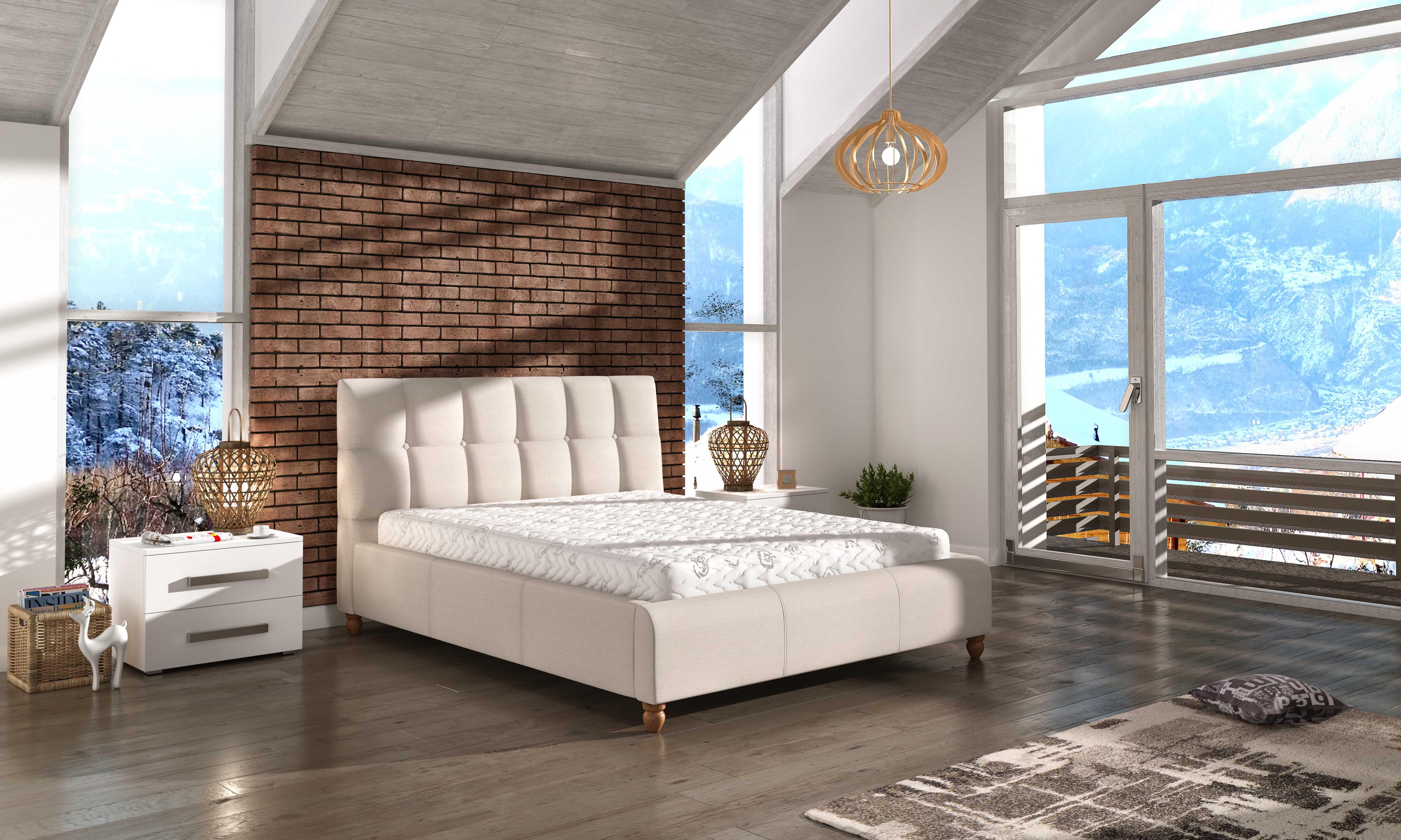 Manželská postel 140 cm - Ashill (s roštem)