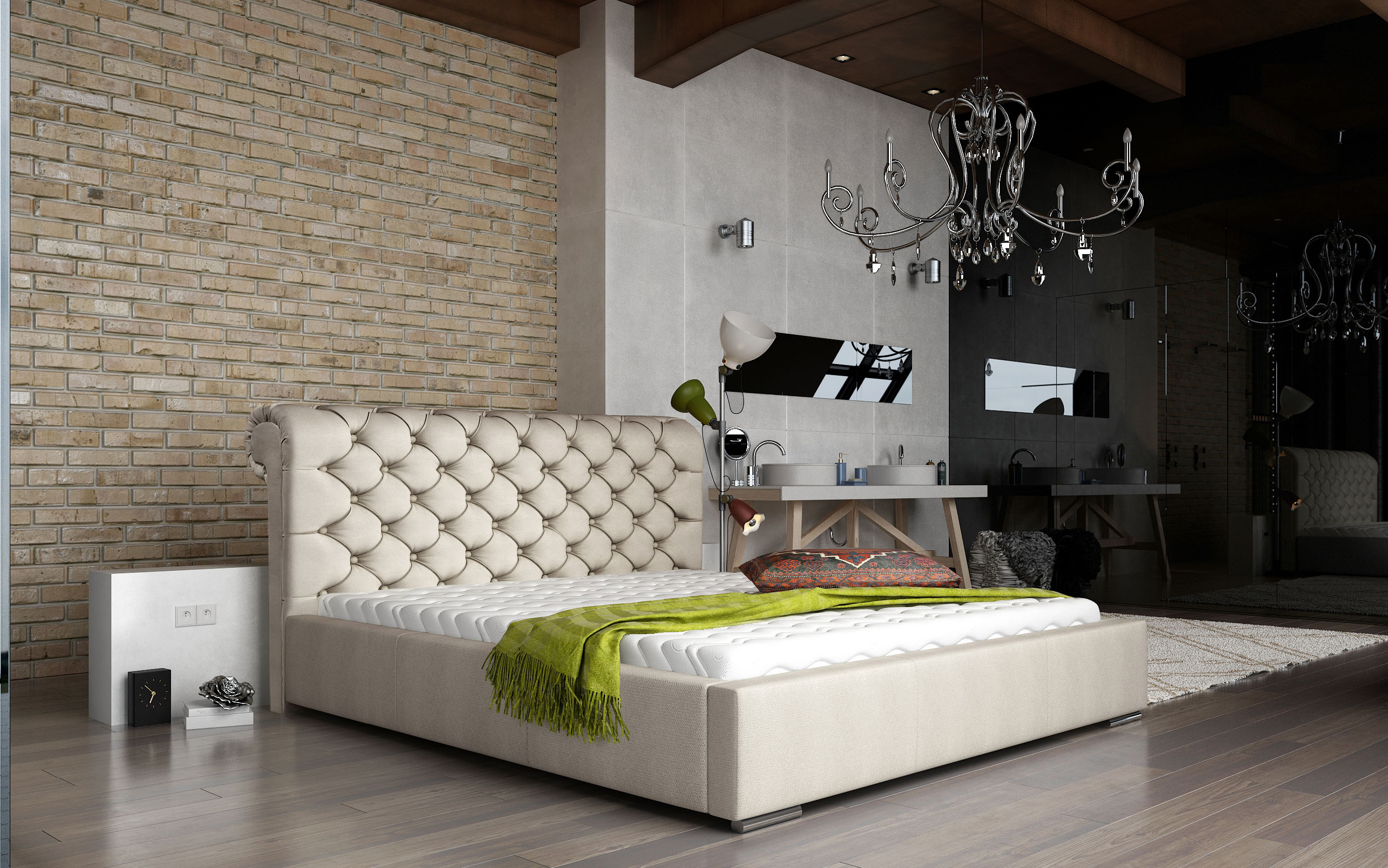 Manželská postel 140 cm - Mansfield (s roštem)