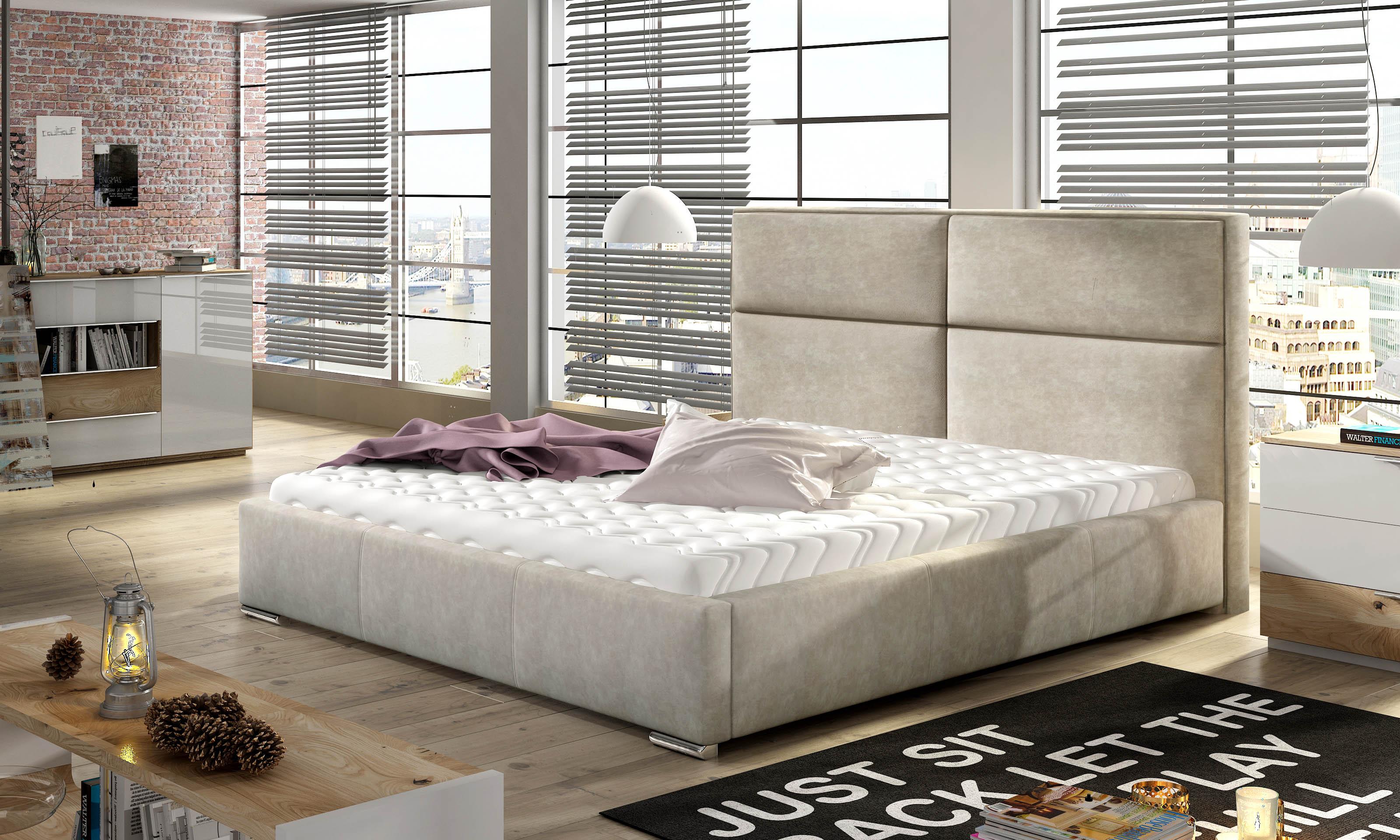 Manželská postel 140 cm - Mileham (s roštem)
