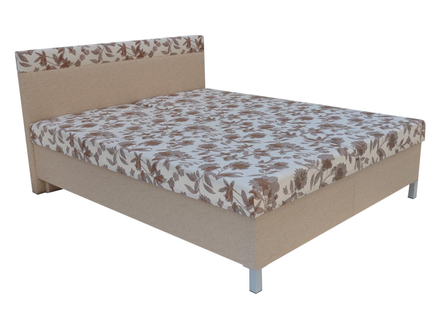 Manželská postel 160 cm - Mitru - Agata (béžová) (s rošty a matracemi)