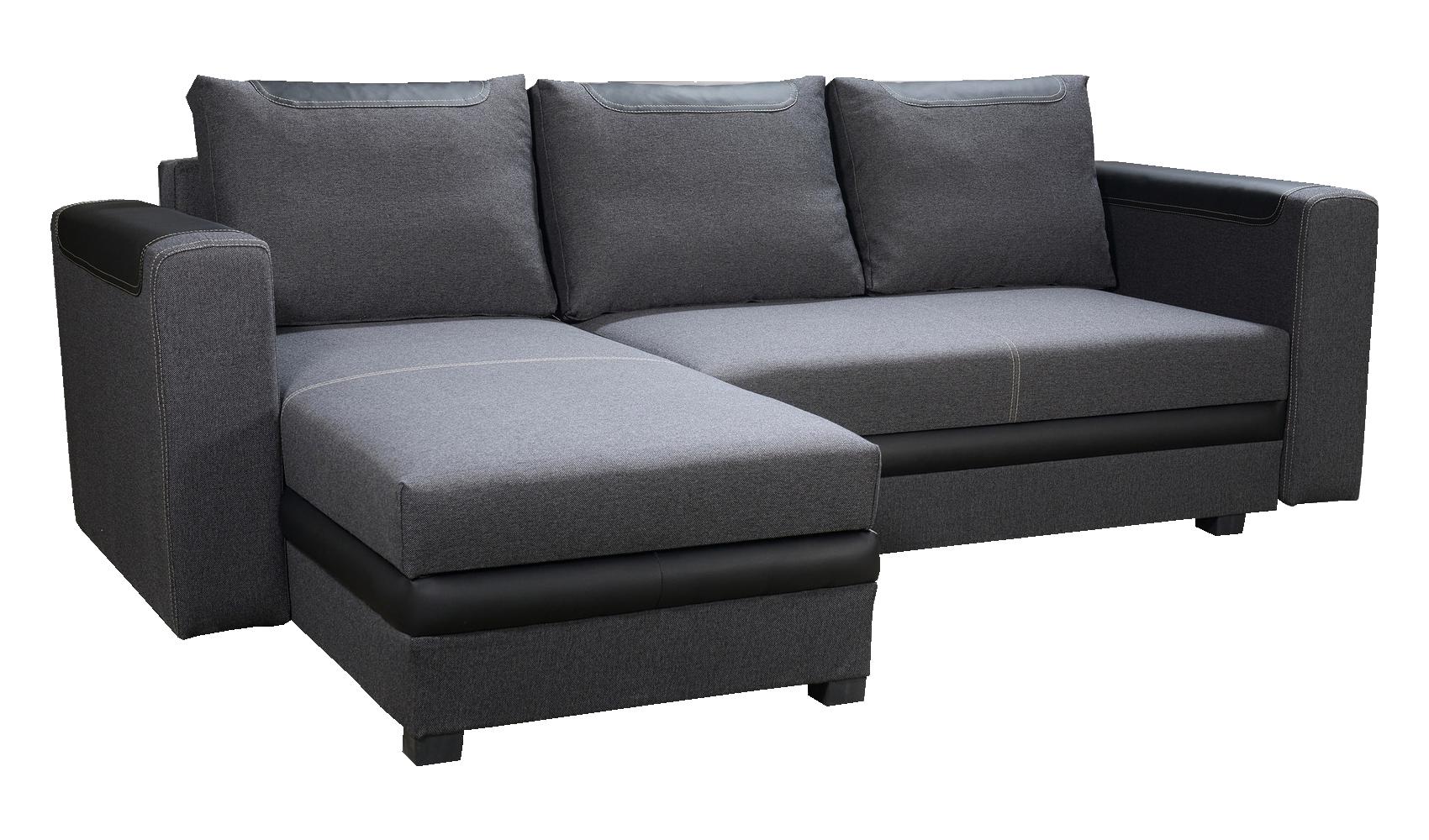 Rohová sedací souprava - Po-Sed - Bono (tmavě šedá + černá) (L)