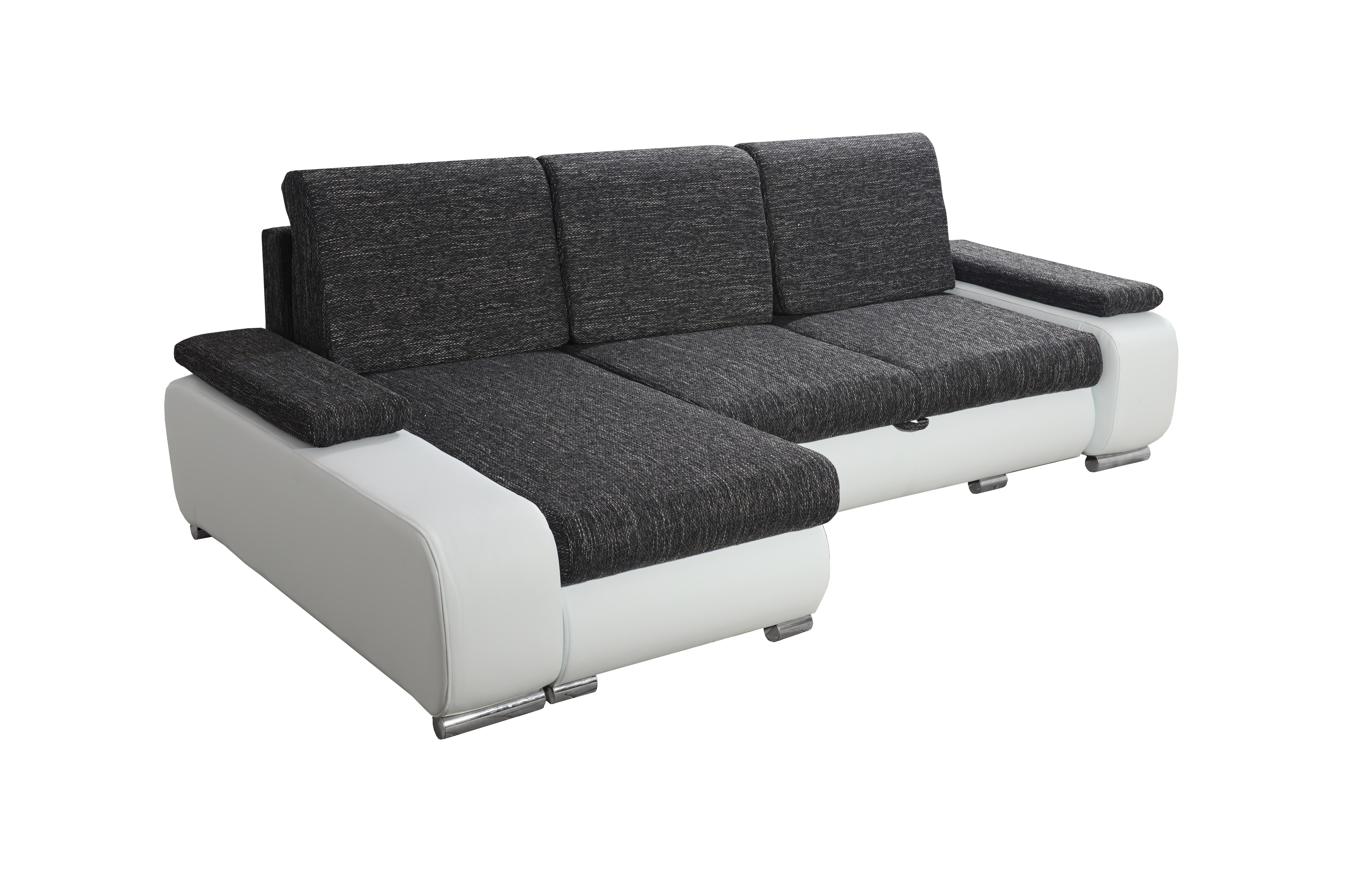 Rohová sedací souprava - Po-Sed - Late (černá + bílá) (L)