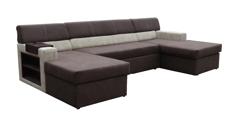 Rohová sedací souprava U - Po-Sed - Markos (tmavě hnědá + béžová + dřevo wenge) (L)
