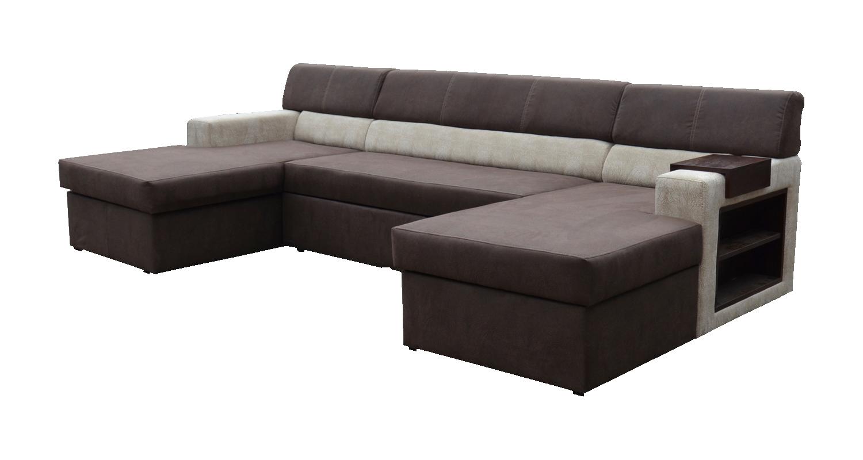 Rohová sedací souprava U - Po-Sed - Markos (tmavě hnědá + béžová + dřevo wenge) (P)