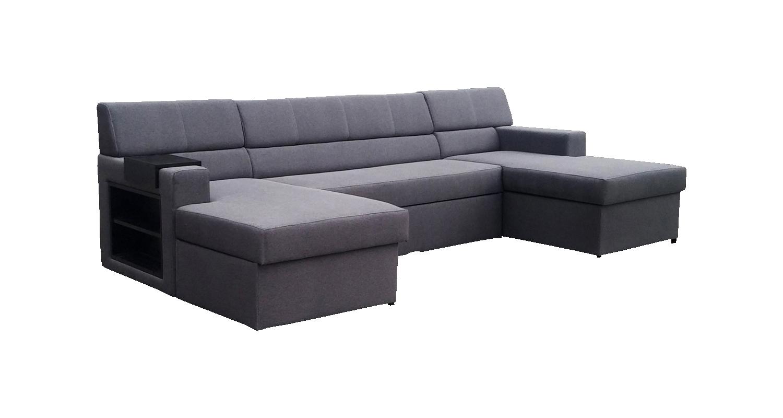 Rohová sedací souprava U - Po-Sed - Markos (šedá + dřevo wenge) (L)