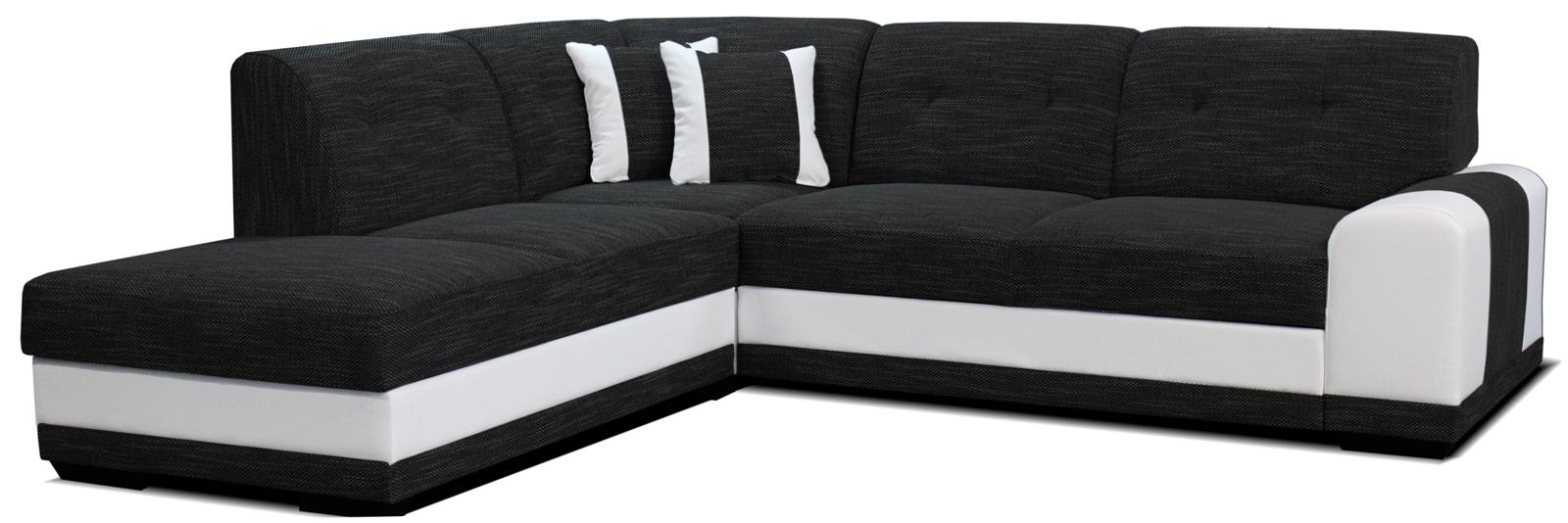 Rohová sedací souprava - Po-Sed - Bella Lux L+2F (černá + bílá) (L)