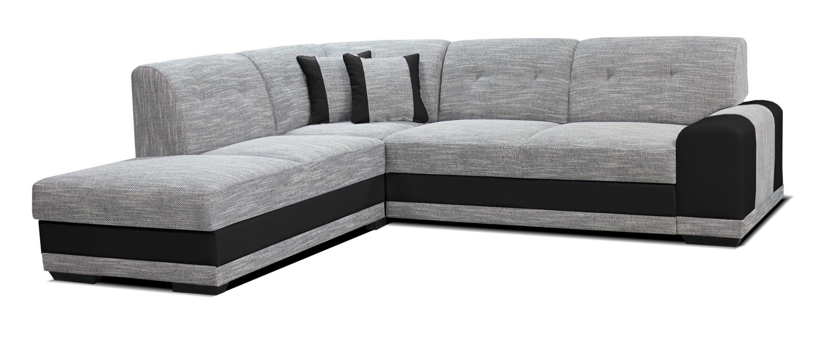 Rohová sedací souprava - Po-Sed - Bella Lux L+2F (šedá + černá) (L)