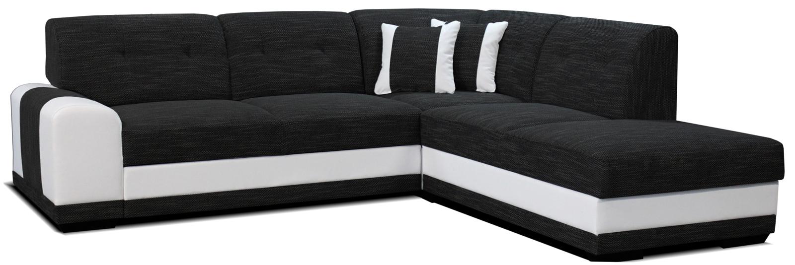 Rohová sedací souprava - Po-Sed - Bella Lux 2F+L (černá + bílá) (P)