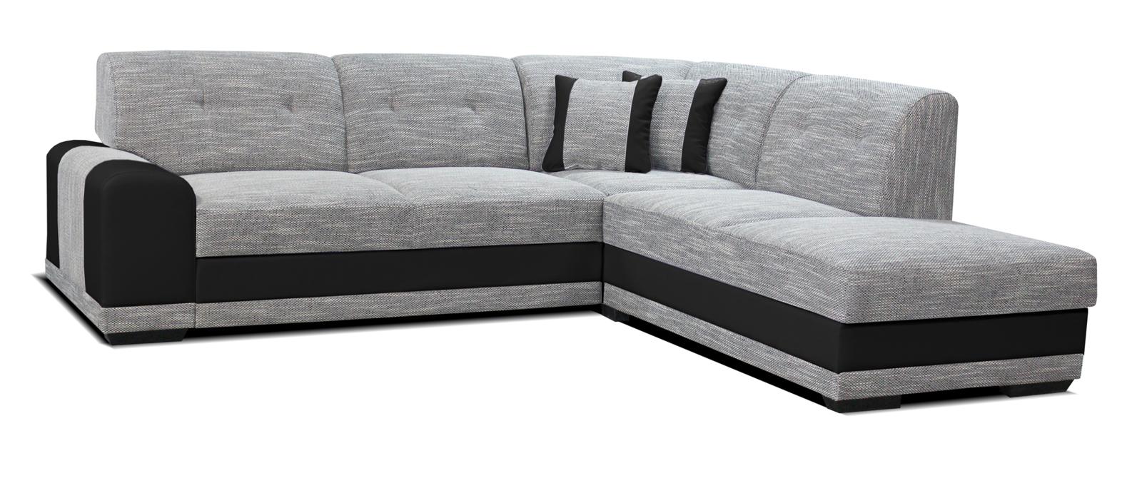 Rohová sedací souprava - Po-Sed - Bella Lux 2F+L (šedá + černá) (P)