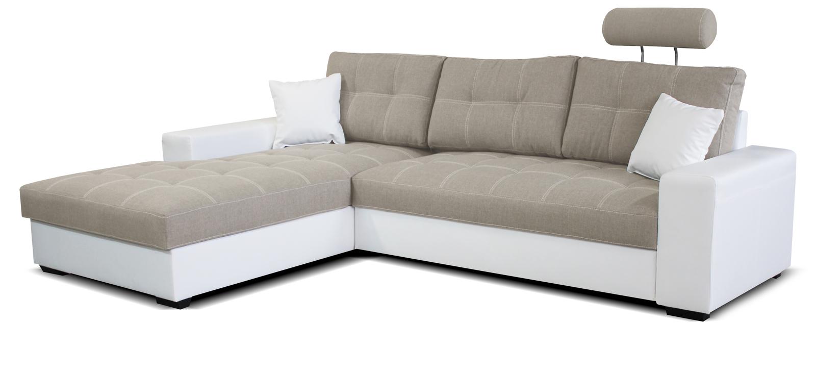 Rohová sedací souprava - Po-Sed - Corato L+2F (béžová + bílá) (L)