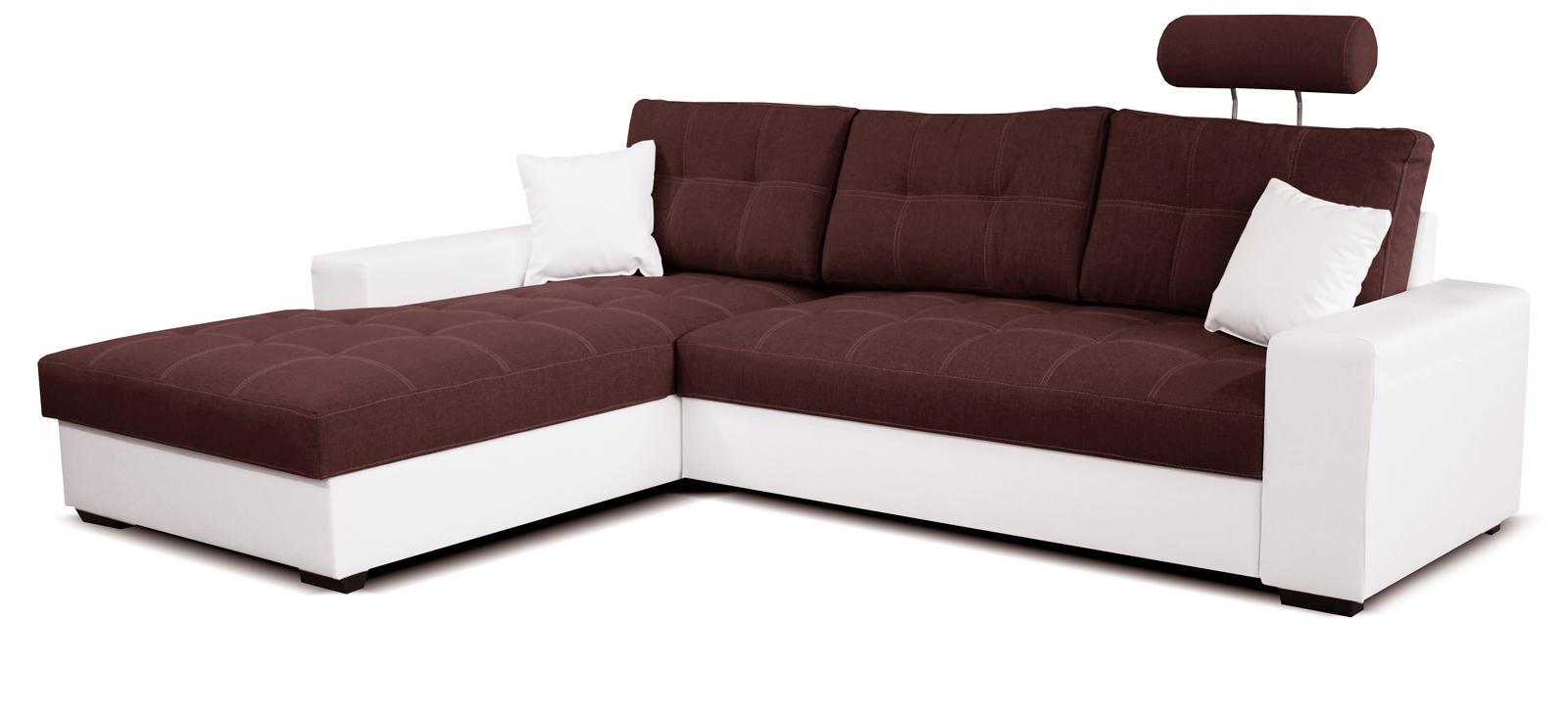 Rohová sedací souprava - Po-Sed - Corato L+2F (bordó + bílá) (L)