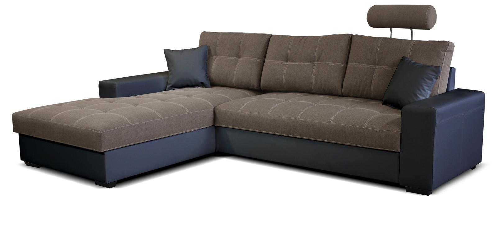Rohová sedací souprava - Po-Sed - Corato L+2F (hnědá + černá) (L)