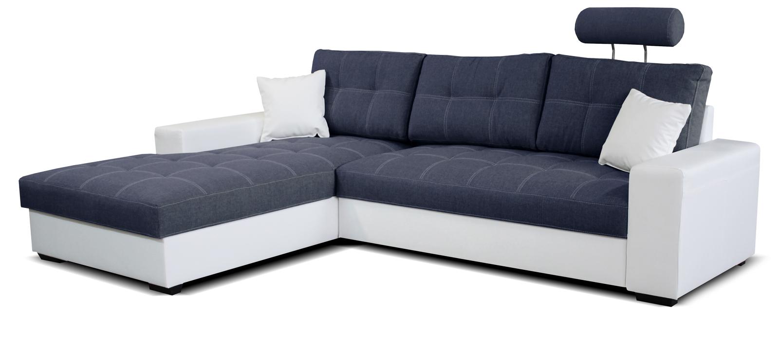 Rohová sedací souprava - Po-Sed - Corato L+2F (modrá + bílá) (L)