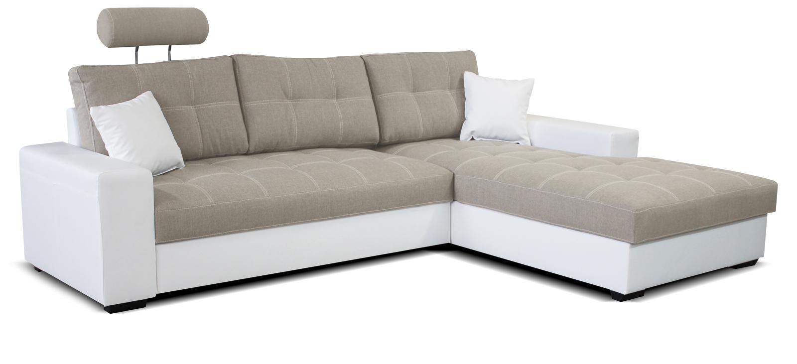 Rohová sedací souprava - Po-Sed - Corato 2F+L (béžová + bílá) (P)