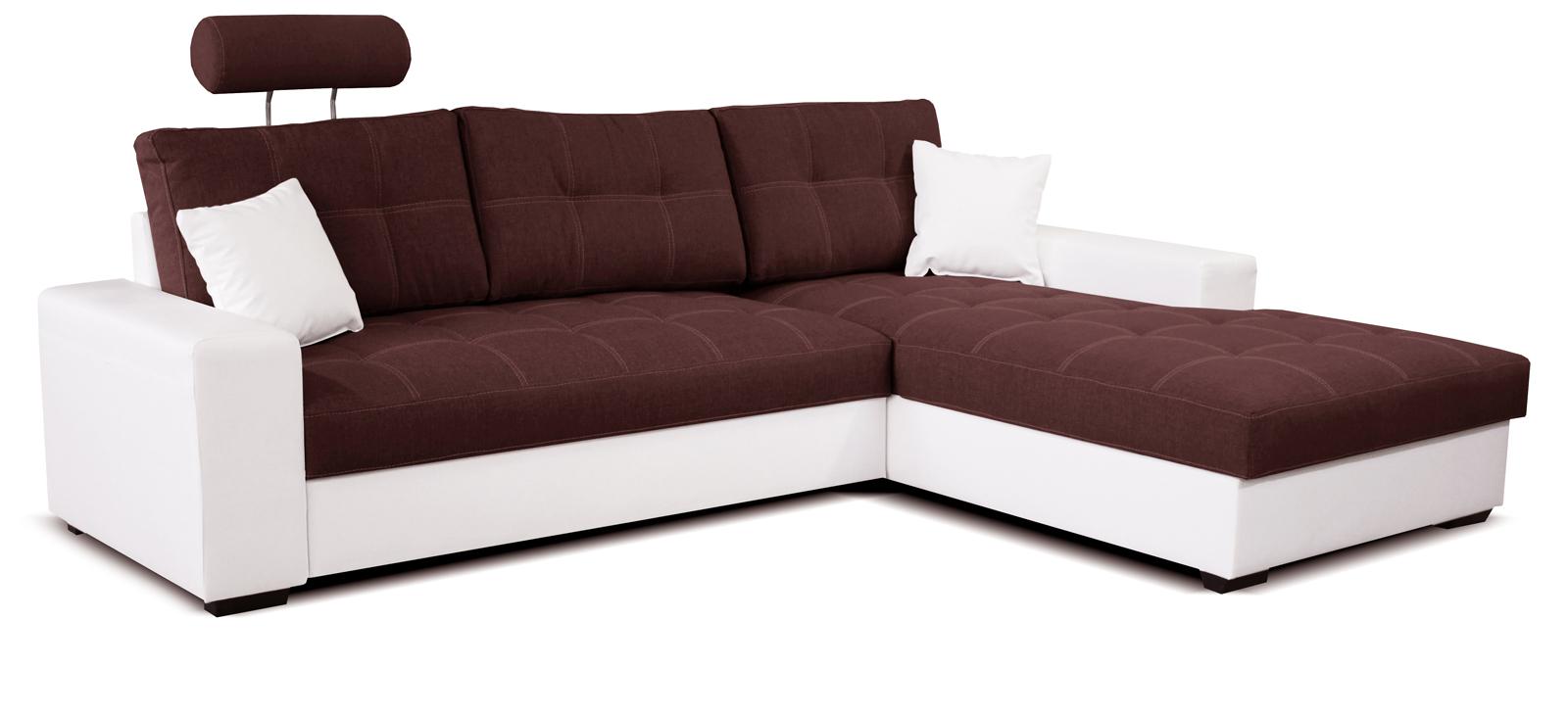 Rohová sedací souprava - Po-Sed - Corato 2F+L (bordó + bílá) (P)