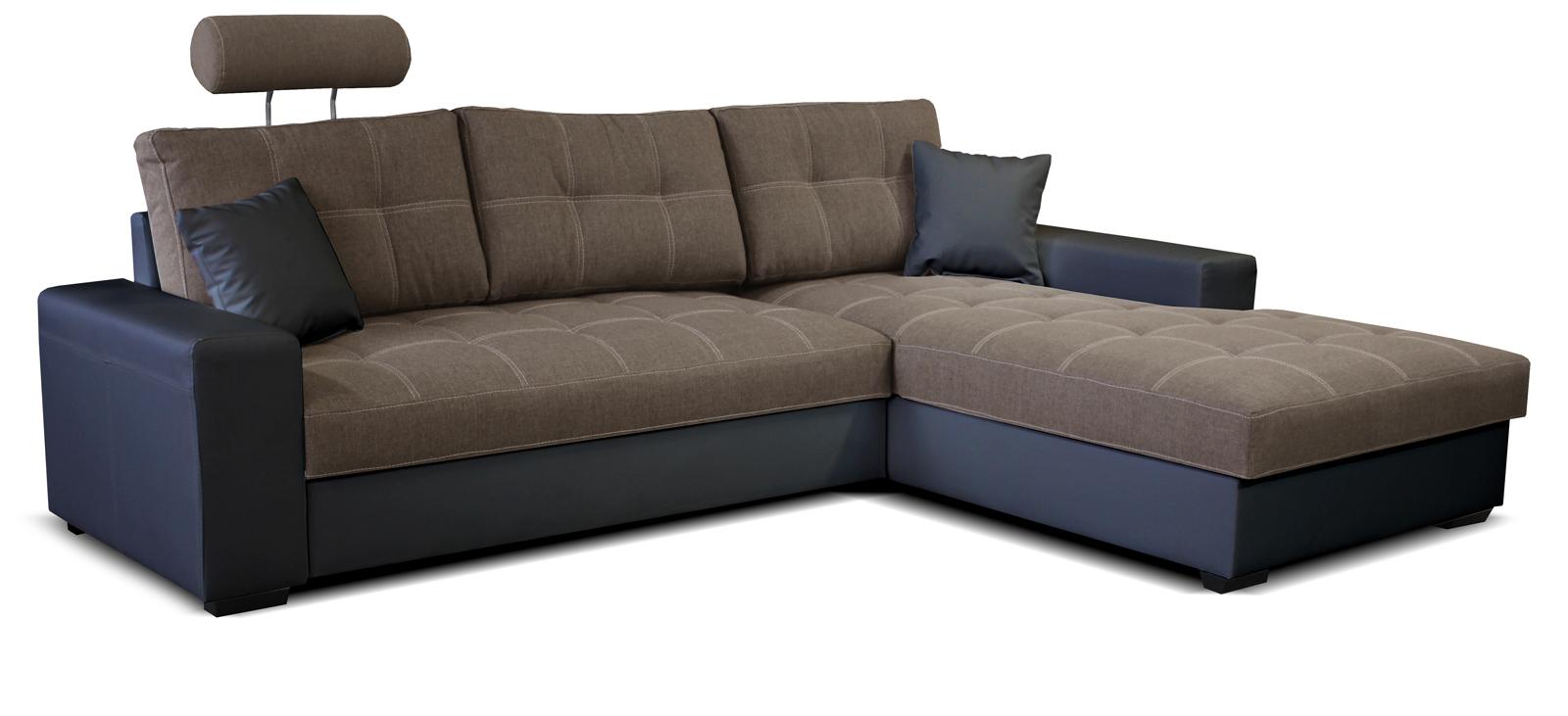 Rohová sedací souprava - Po-Sed - Corato 2F+L (hnědá + černá) (P)