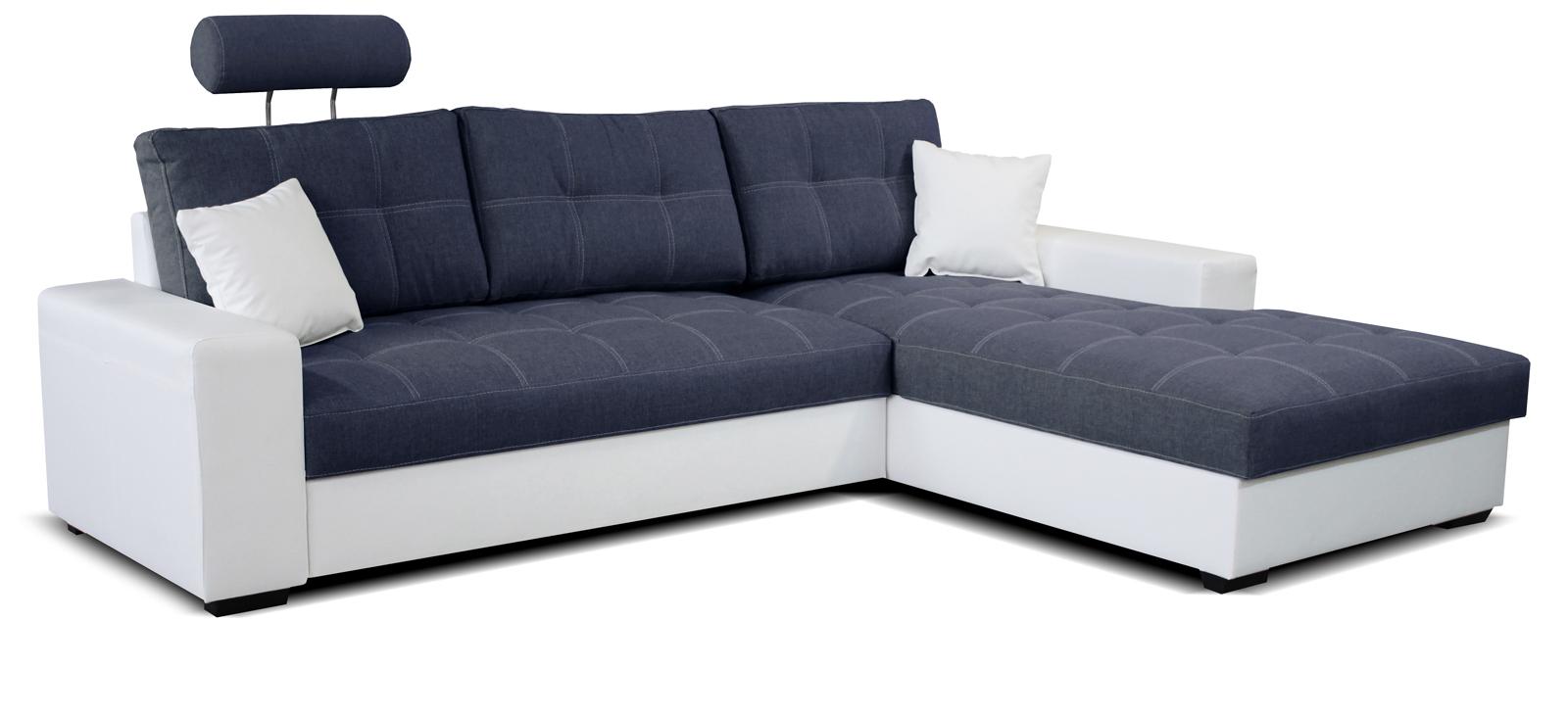 Rohová sedací souprava - Po-Sed - Corato 2F+L (modrá + bílá) (P)