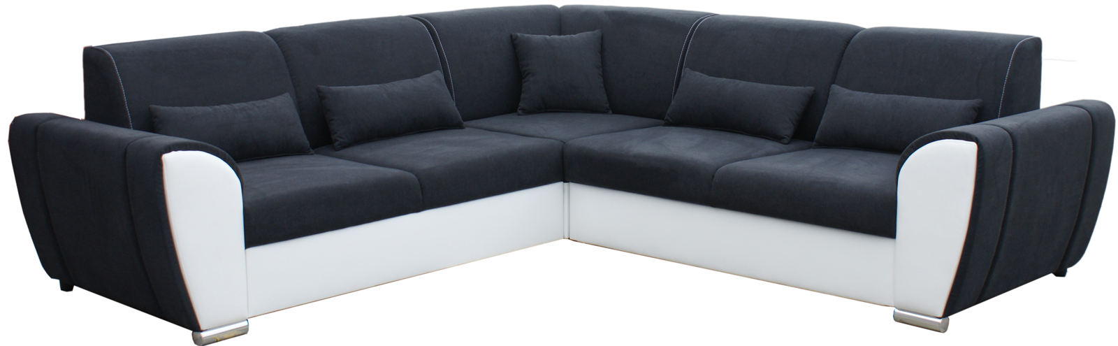 Rohová sedací souprava - Po-Sed - Denim (černá + bílá) (L)