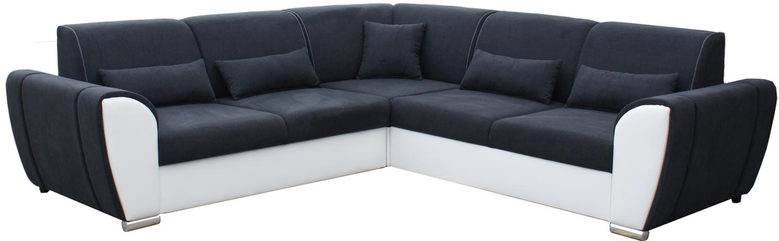 Rohová sedací souprava - Po-Sed - Denim (černá + bílá) (P)