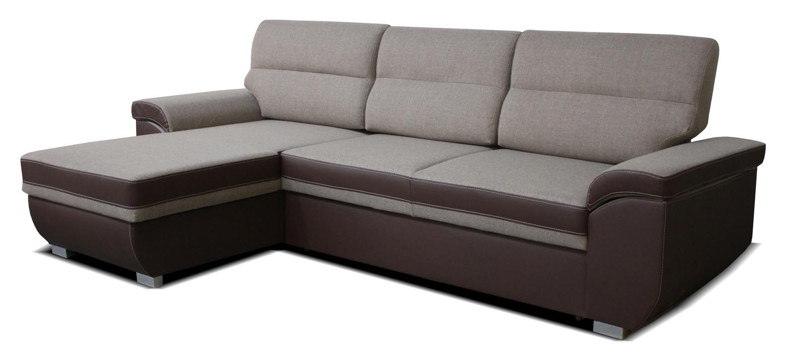 Rohová sedací souprava - Po-Sed - Lucan L+2F (béžová + hnědá) (L)