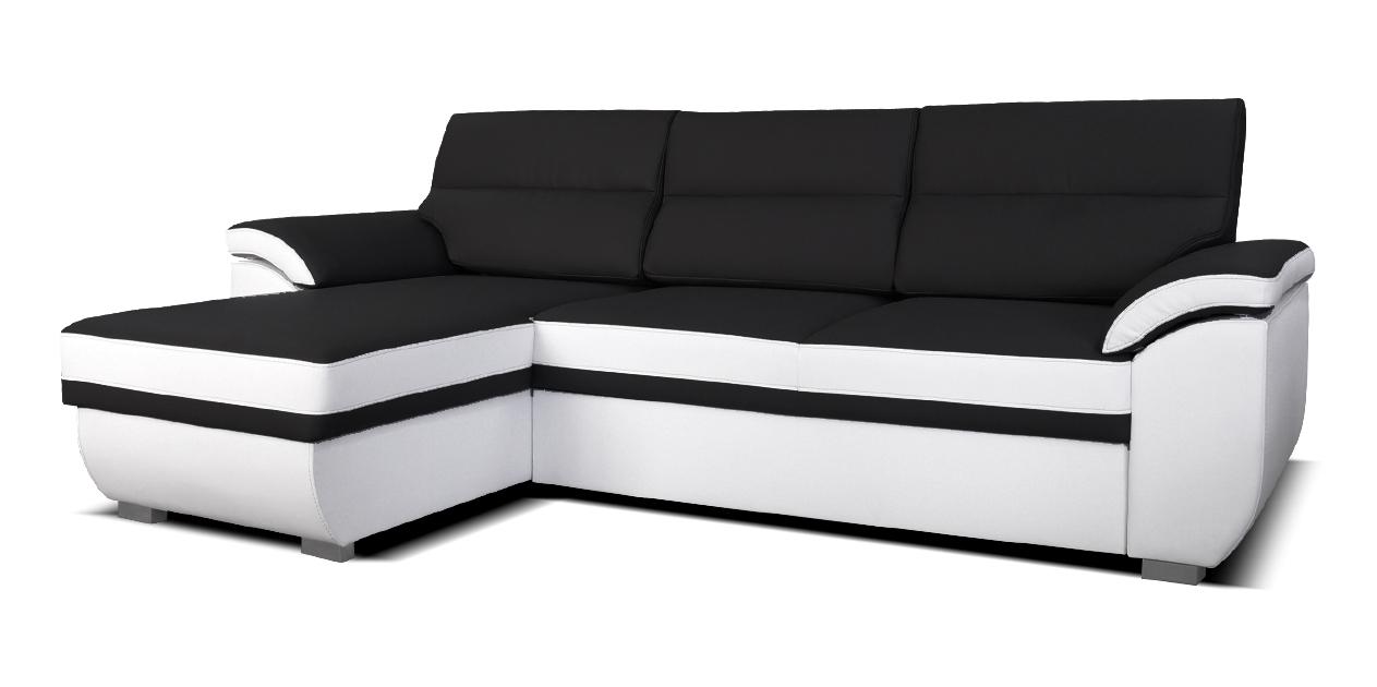 Rohová sedací souprava - Po-Sed - Lucan L+2F (černá + bílá) (L)
