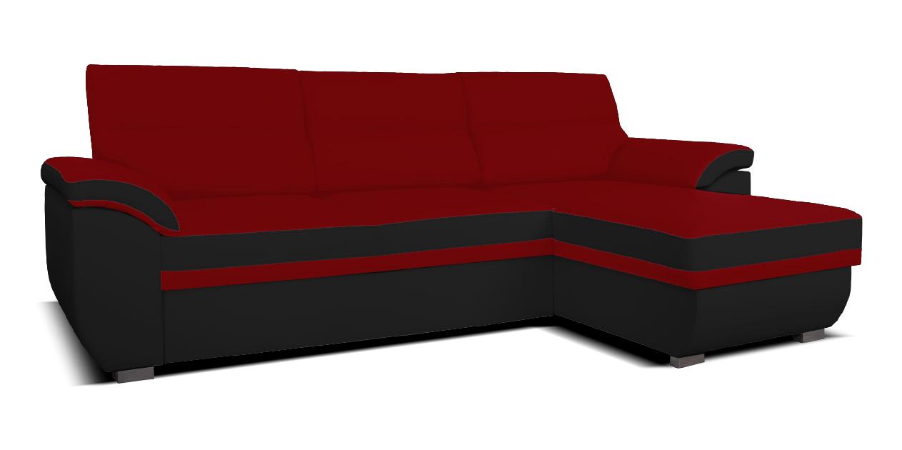 Rohová sedací souprava - Po-Sed - Lucan 2F+L (červená + černá) (P)