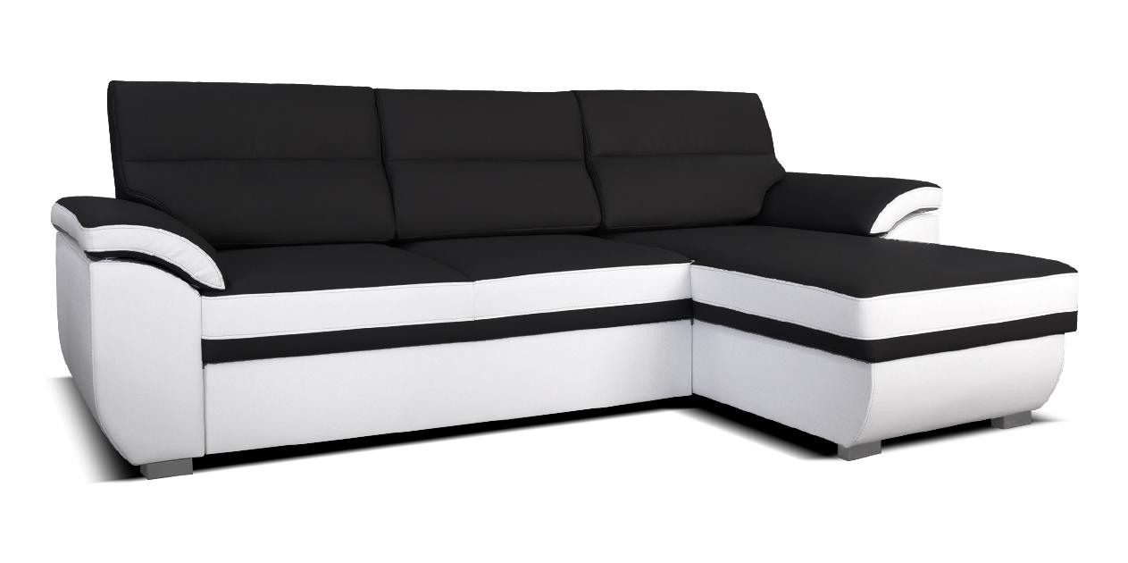 Rohová sedací souprava - Po-Sed - Lucan 2F+L (černá + bílá) (P)