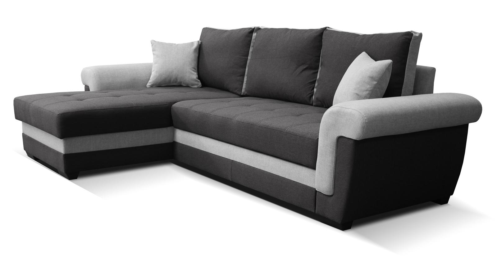 Rohová sedací souprava - Po-Sed - Rony L+2F (černá + šedá) (L)