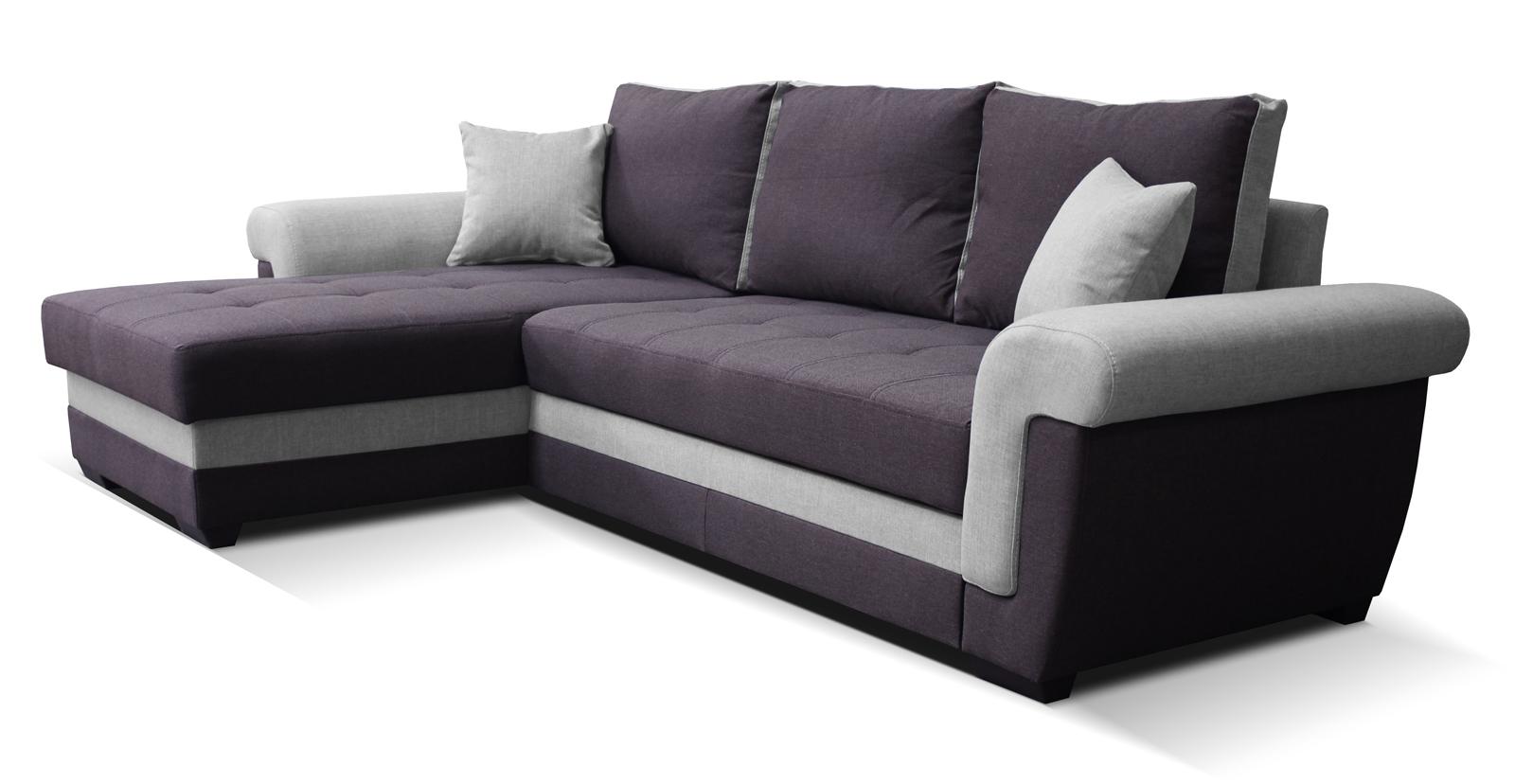 Rohová sedací souprava - Po-Sed - Rony L+2F (fialová + šedá) (L)