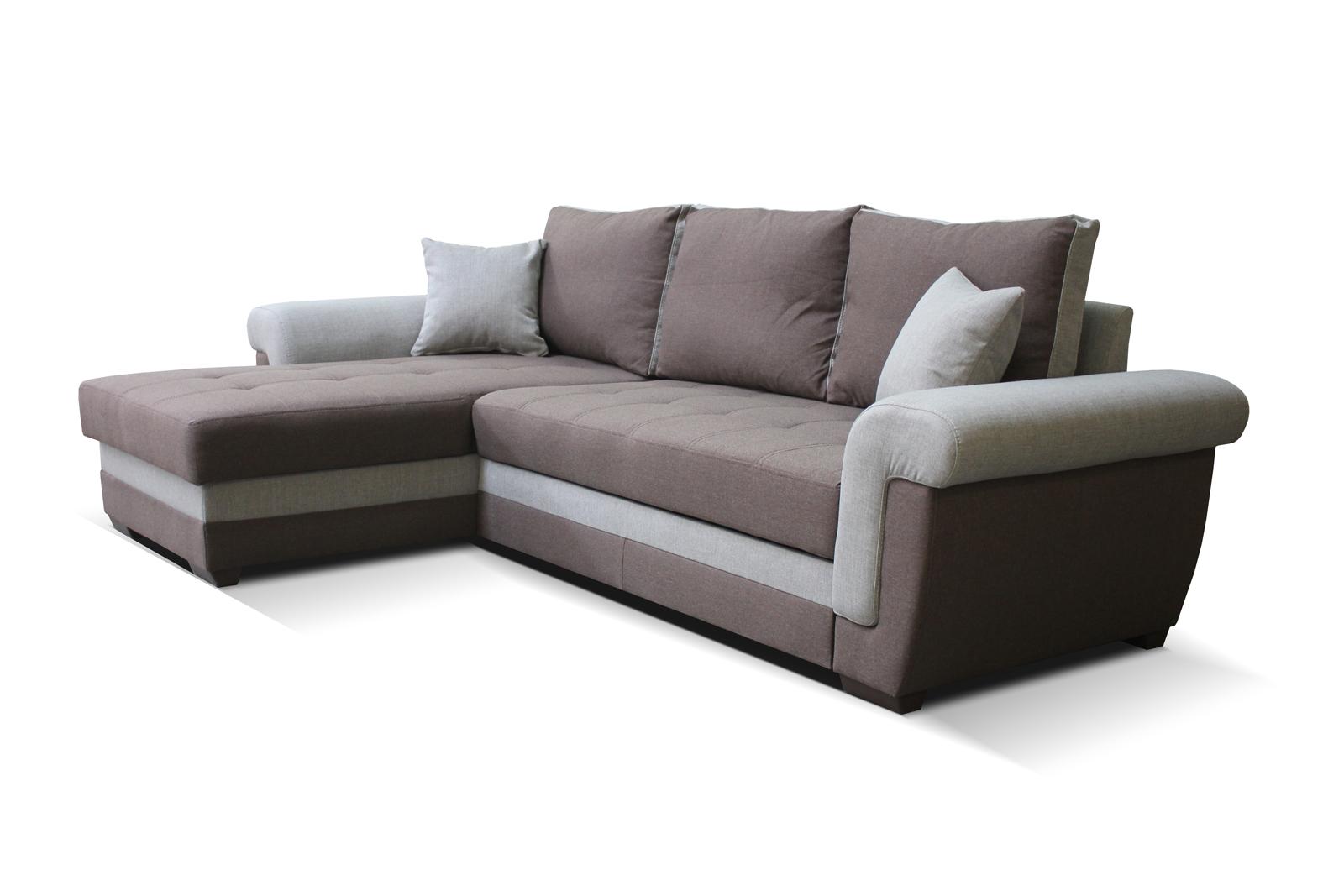 Rohová sedací souprava - Po-Sed - Rony L+2F (tmavohnědá + hnědá) (L)